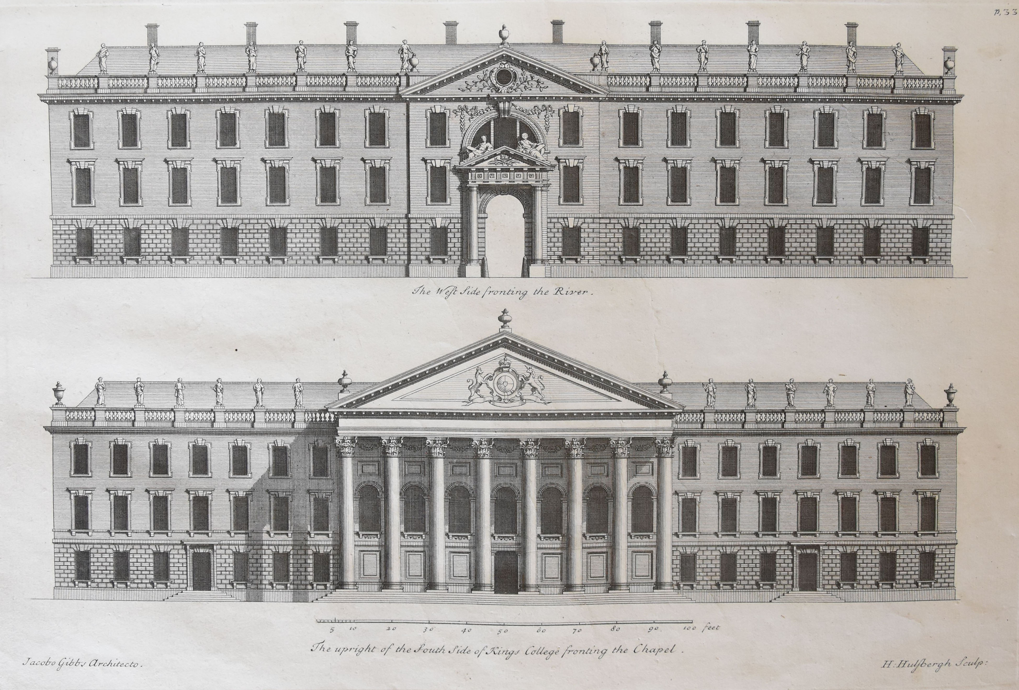 'The West Side fronting the River, and the Front of the Hall'. [James Gibbs' Book of Architecture, plate XXXIII]