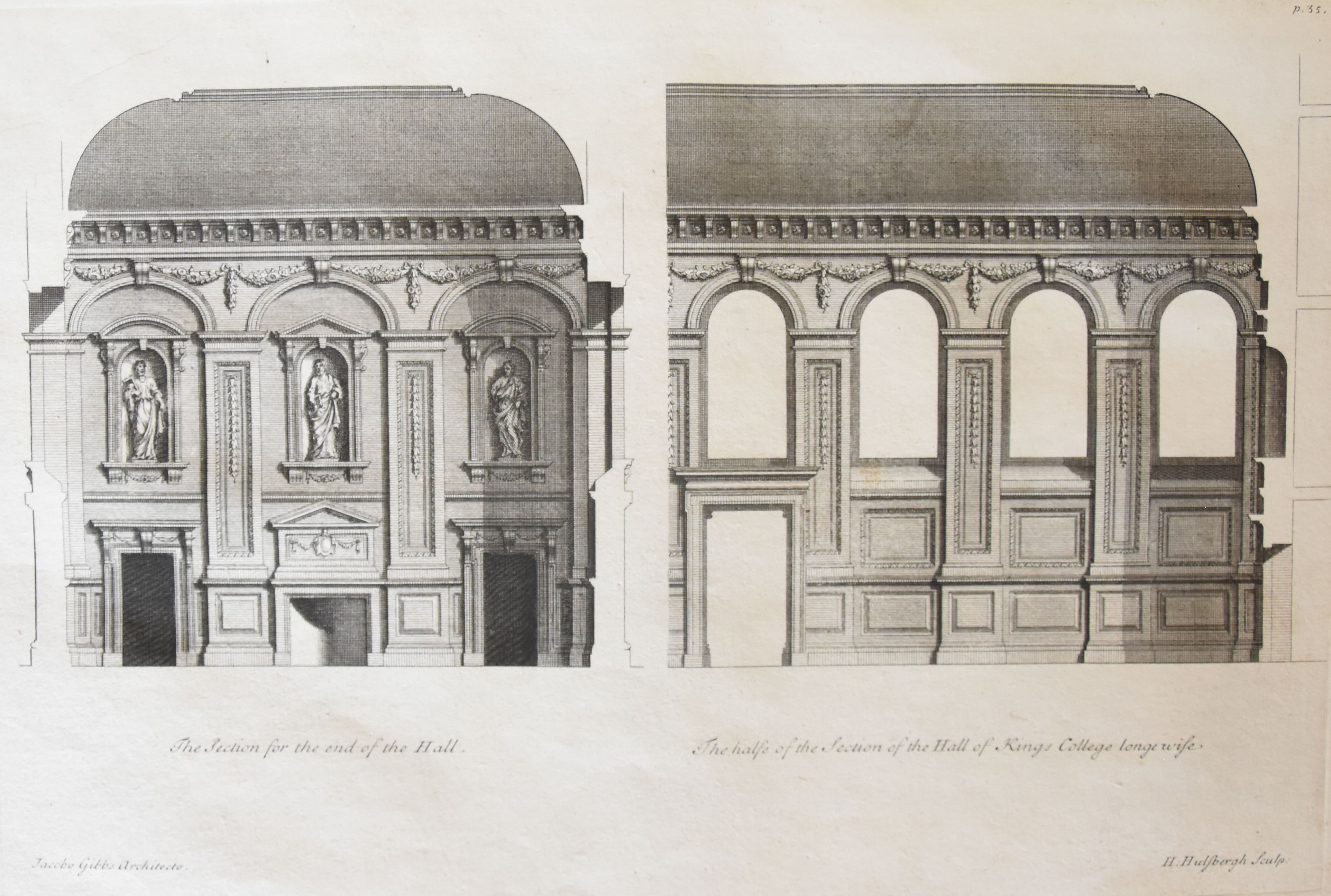'The Sections of the Hall, which is 40 feet wide, 80 feet long and 40 feet high, to be finish'd in Stucco'. [James Gibbs' Book of Architecture, plate XXXV]