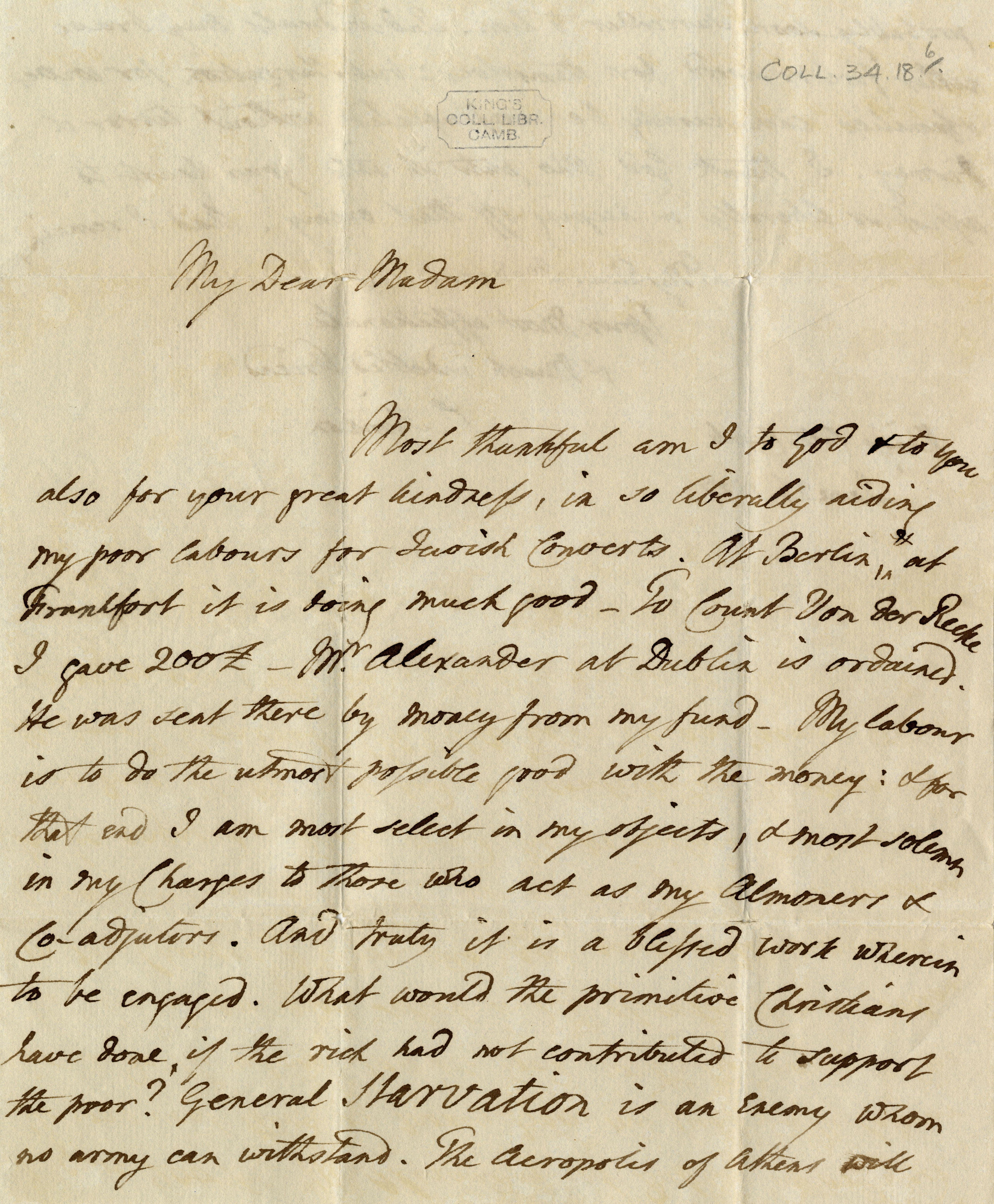 First page of a letter from Simeon to one of his supporters of the churches for converted Jews. (CS/1/Bowdler-1827-01-26)