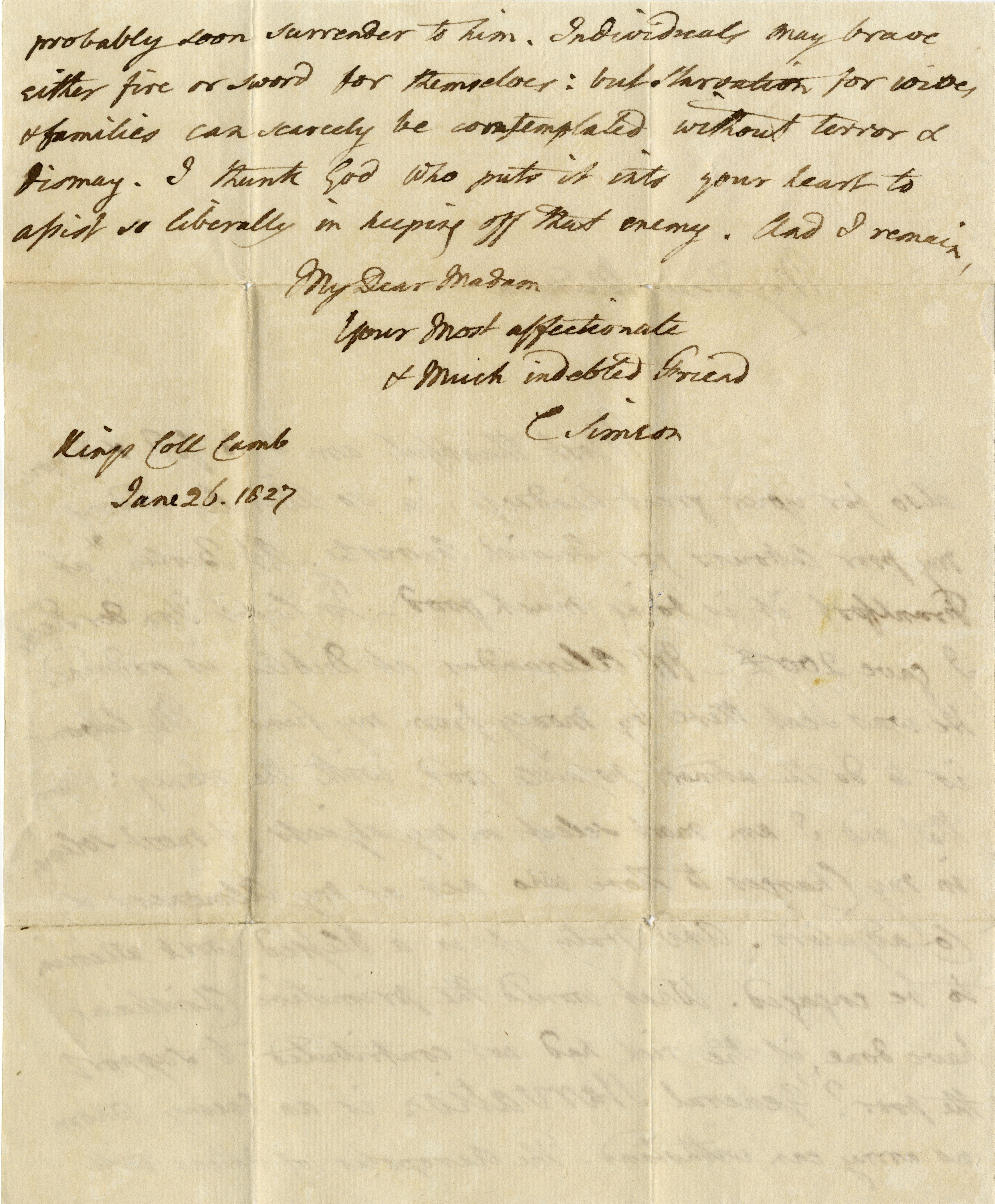 Second page of a letter from Simeon to one of his supporters of the churches for converted Jews. (CS/1/Bowdler-1827-01-26)