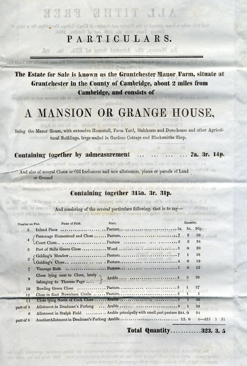 Second page of particulars for the sale of the lease of Manor Farm, Grantchester, 1846 (GRA/298)
