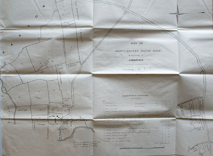 Plan accompanying particulars for Manor Farm, Grantchester, 1846 (GRA/298)