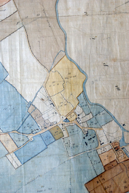 Part of plan of the King's College estate in Grantchester and Coton.  Based upon the enclosure map of 1802. (GRA/781)