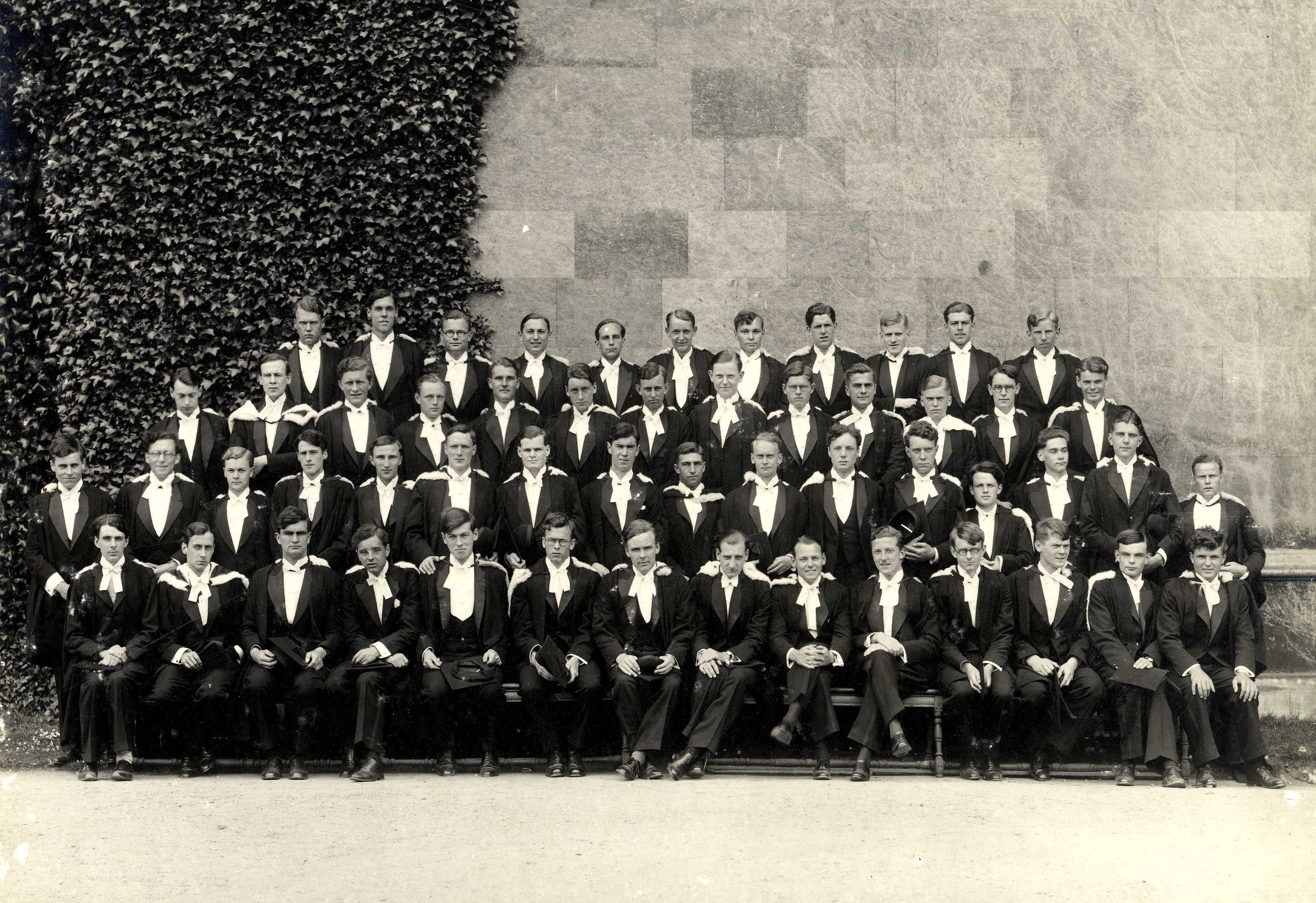 B.A.'s 1934. Alan Turing appears second from the right on the front row