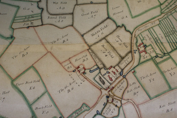 Detail from a survey of Great Greenford parish by R. Binfield, 1775, including Holy Cross church and glebe land (GRE/20).