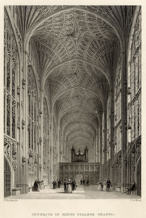 J Le Keux's engraving of the interior of King's College Chapel including the screen