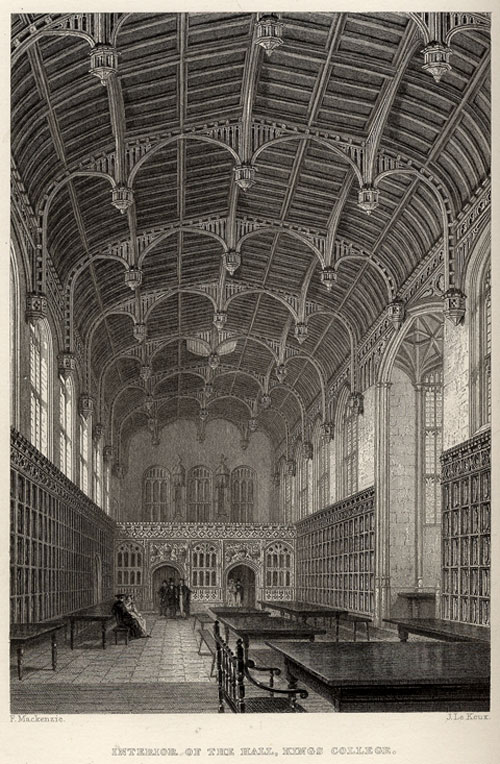 J Le Keux's engraving of the interior of the Hall, King's College