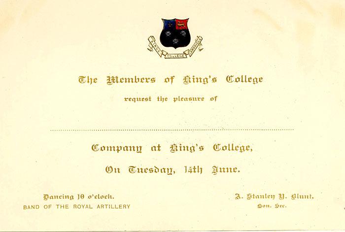 Invitation to King's May Ball 1892.