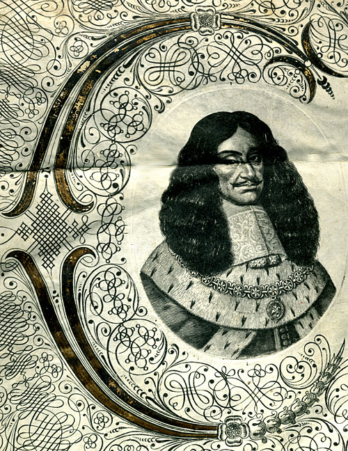 Miniature portrait of Charles II on an Exemplification, 1666 (ISL/7)