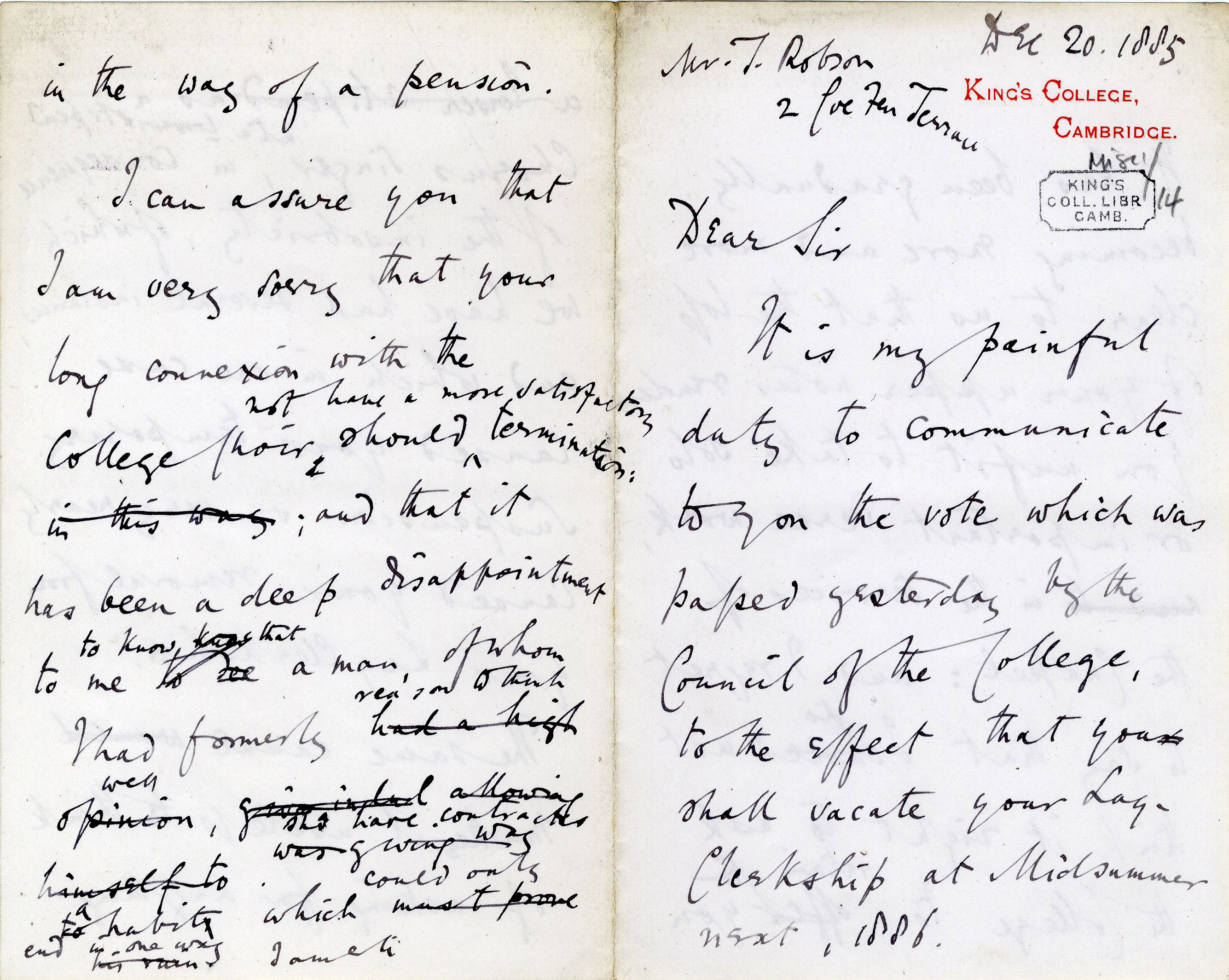 First page of Augustus Austen Leigh's letter dismissing a lay clerk to 1885 (JEN/1/Leigh)
