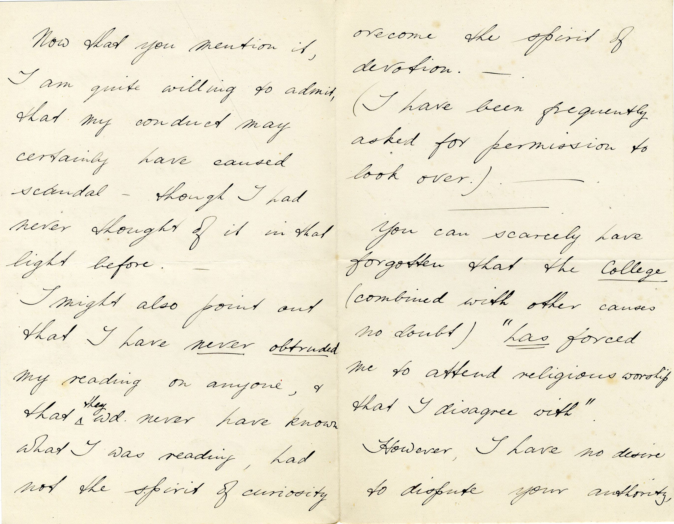 Second page of a letter from Edmund Arthur Norman Pochin (KC 1886) concerning accusations of reading during services (JEN/8)