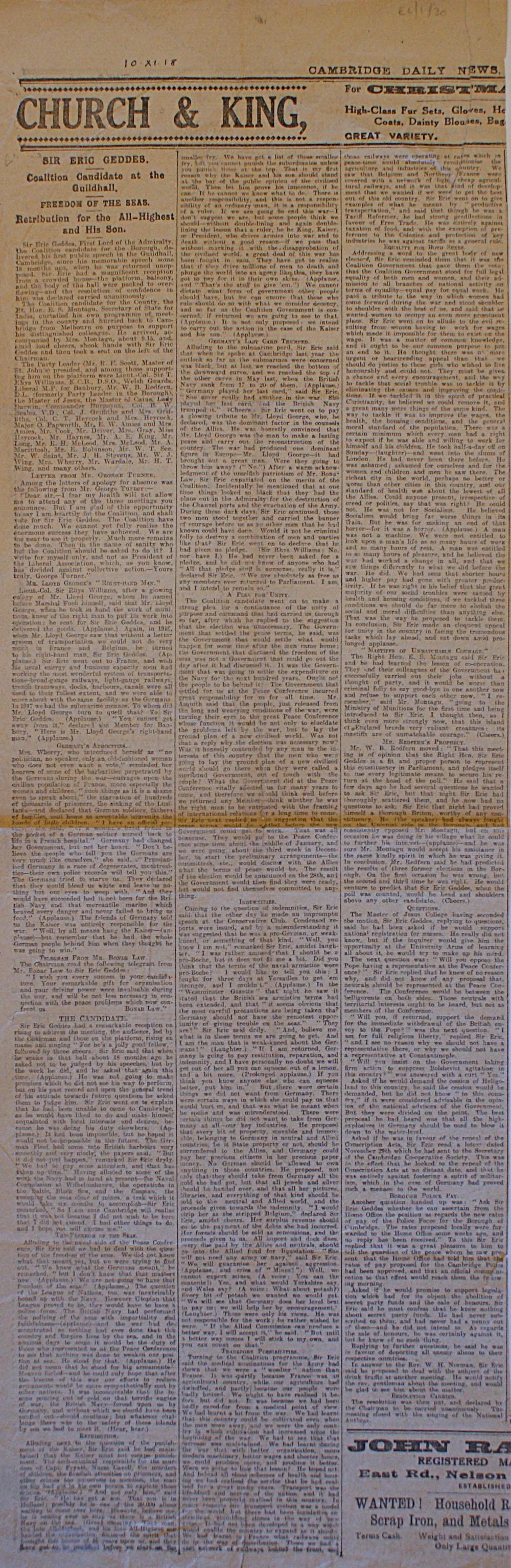 Article concerning Sir Eric Geddes' speech, printed in Cambridge Daily News, 12 November 1919 (JMK/EC/1/30).
