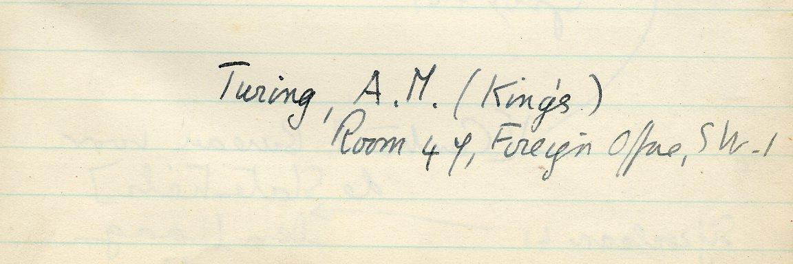 Turing's entry in Keynes' address book. [JMK/MM/11]