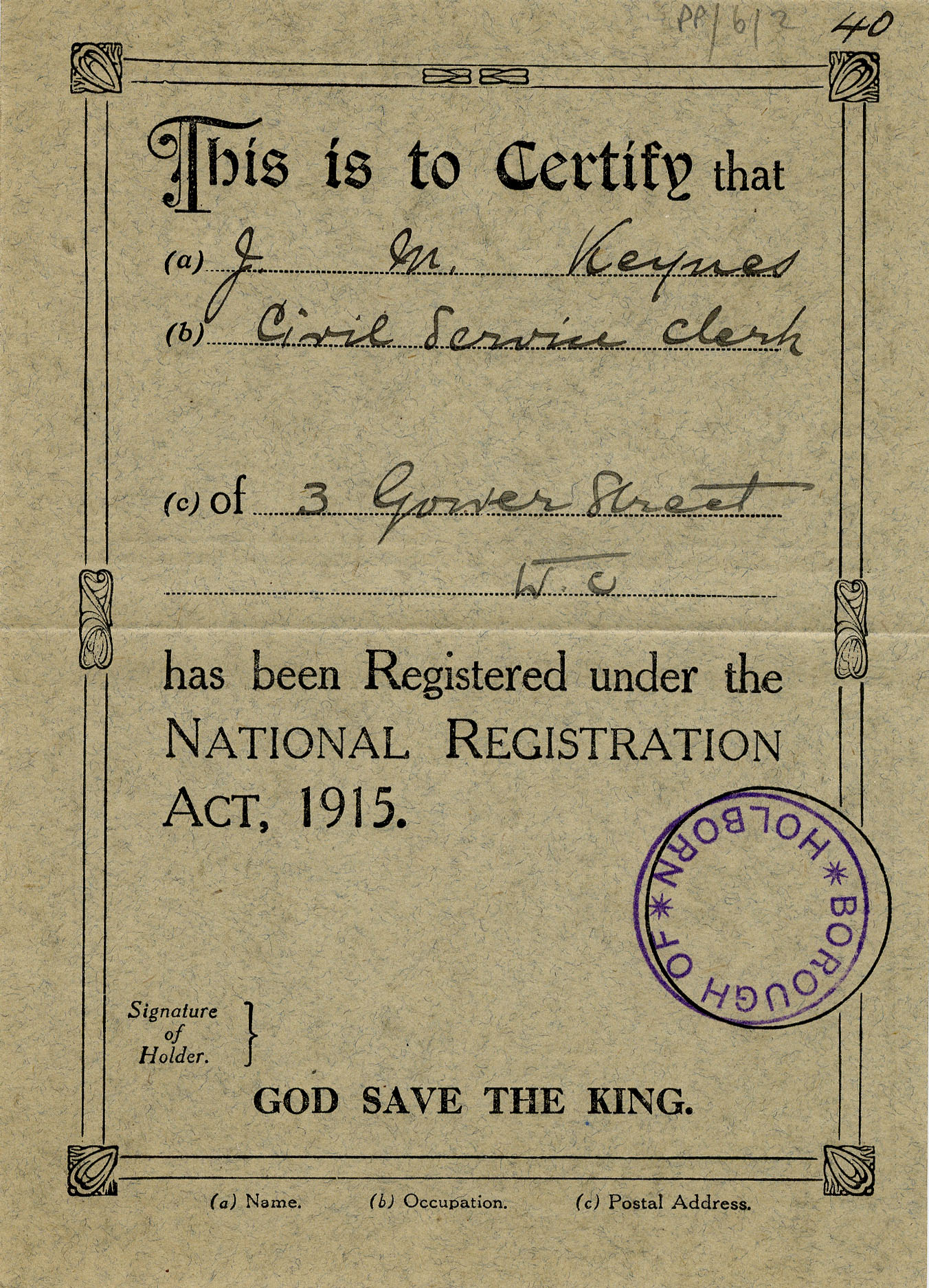 Certificate of J.M. Keynes' registration in the London borough of Holborn under the National Registration Act, 1915 (JMK/PP/6/2)