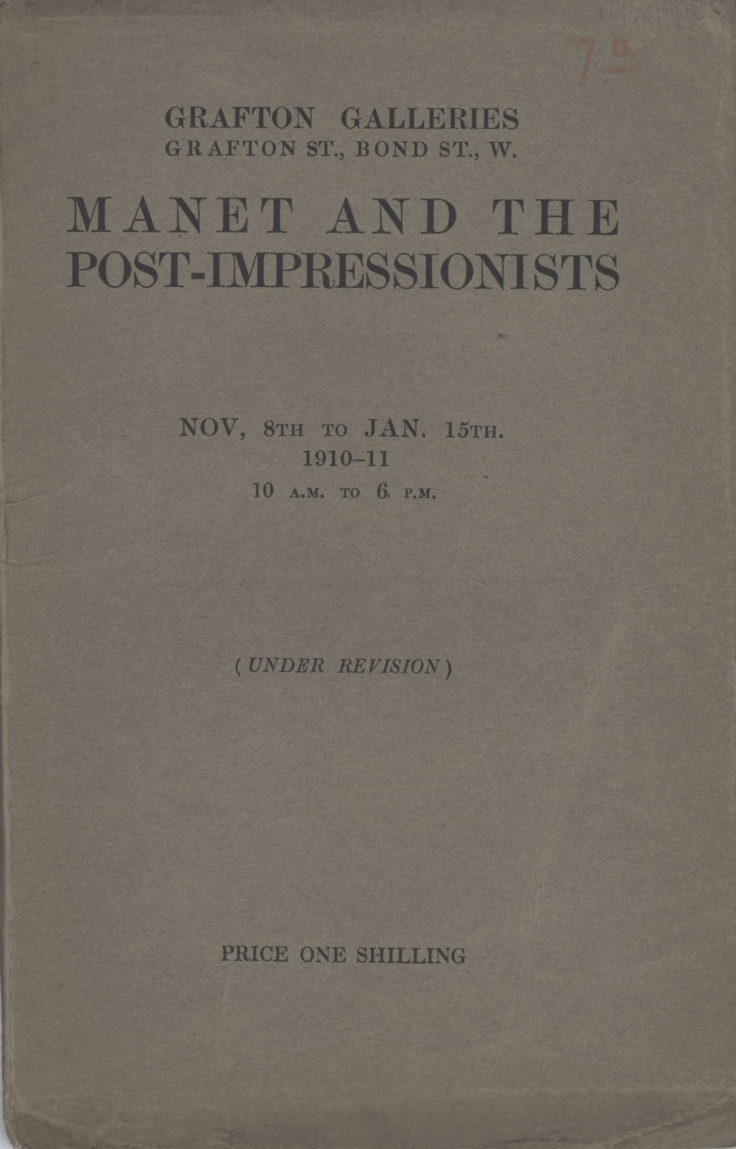 Cover of John Maynard Keynes' copy of the 'Manet and the Post-Impressionists' exhibition catalogue, marked 'Under Revision'. [JMK/PP/70/1]