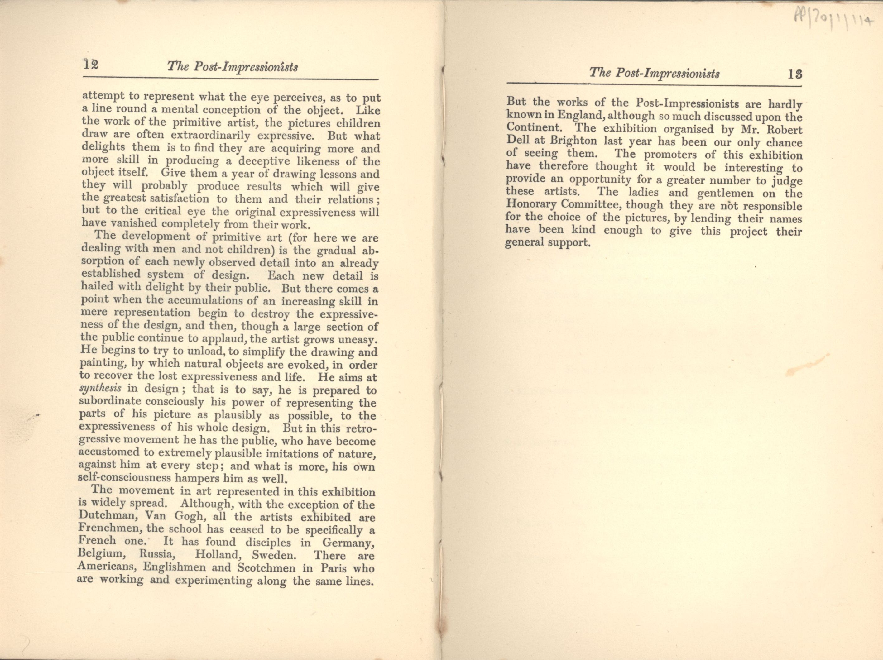 Preface to the 'Manet and the Post-Impressionists' exhibition catalogue. [JMK/PP/70/1]