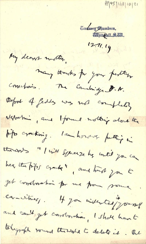 First page of a letter from John Maynard Keynes to Florence Ada Keynes, 12 November 1919 (JMK/PP/45/168/10/21).