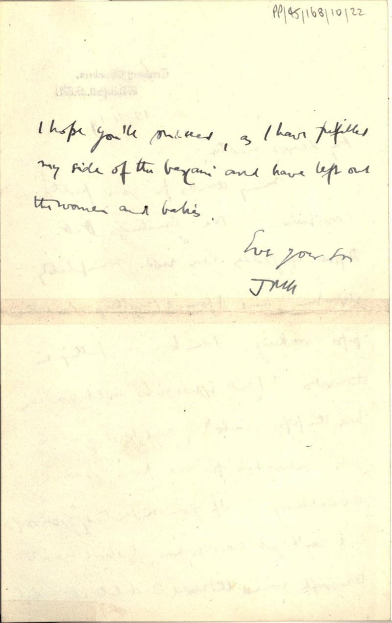 Second page of a letter from John Maynard Keynes to Florence Ada Keynes, 12 November 1919 (JMK/PP/45/168/10/22).
