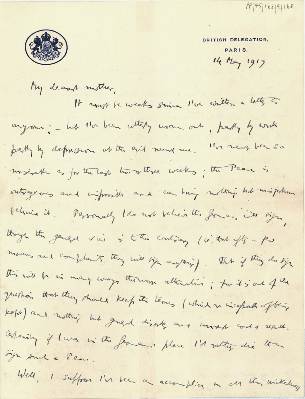First page of a letter from John Maynard Keynes to Florence Ada Keynes, 14 May 1919 (JMK/PP/45/168/9/168).