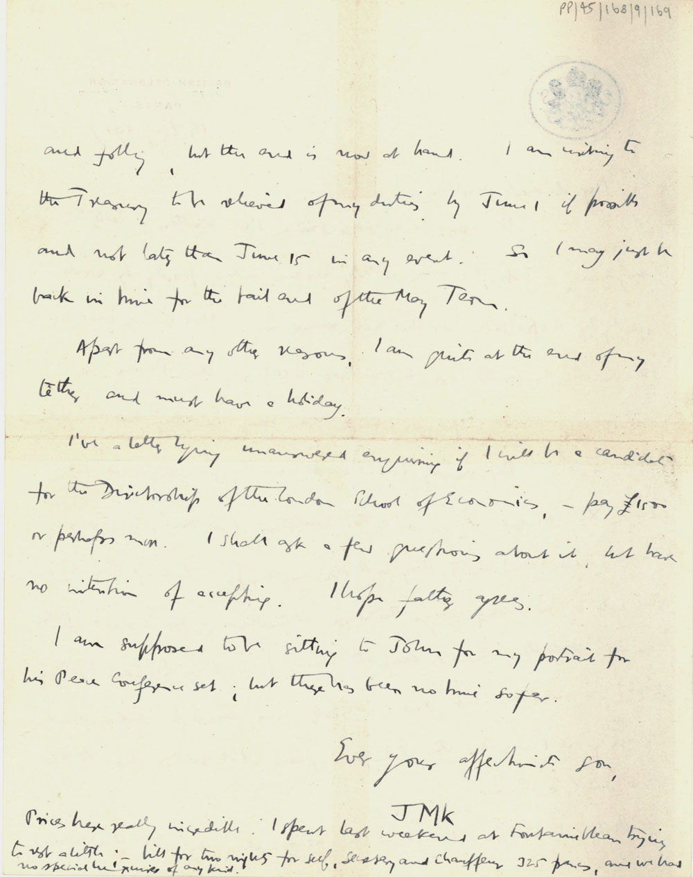Second page of a letter from John Maynard Keynes to Florence Ada Keynes, 14 May 1919 (JMK/PP/45/168/9/169).