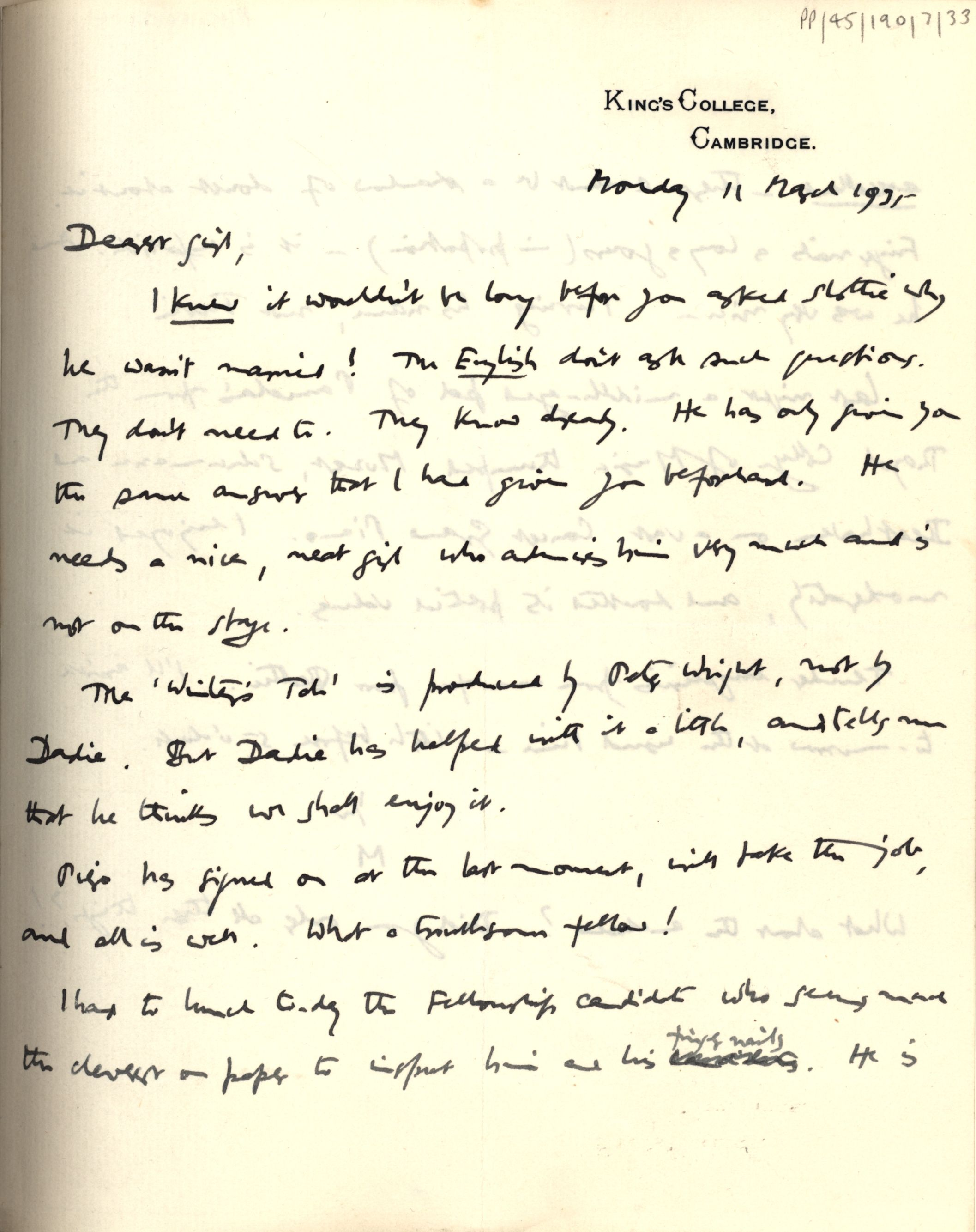 First page of JM Keynes' letter to Lydia, 11 March 1935. [JMK PP/45/190/7/33]