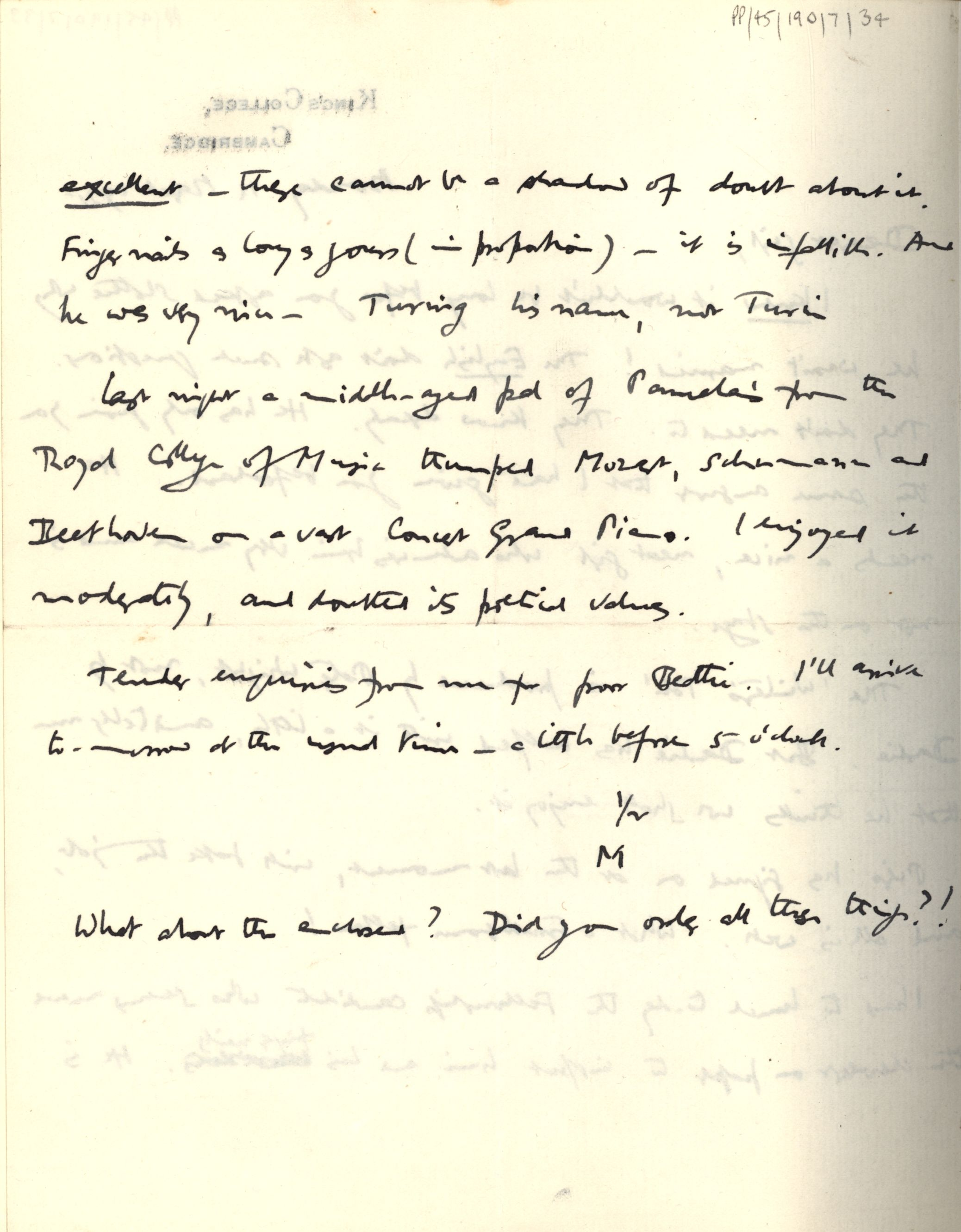Second page of JM Keynes' letter to Lydia, 11 March 1935. [JMK PP/45/190/7/34]