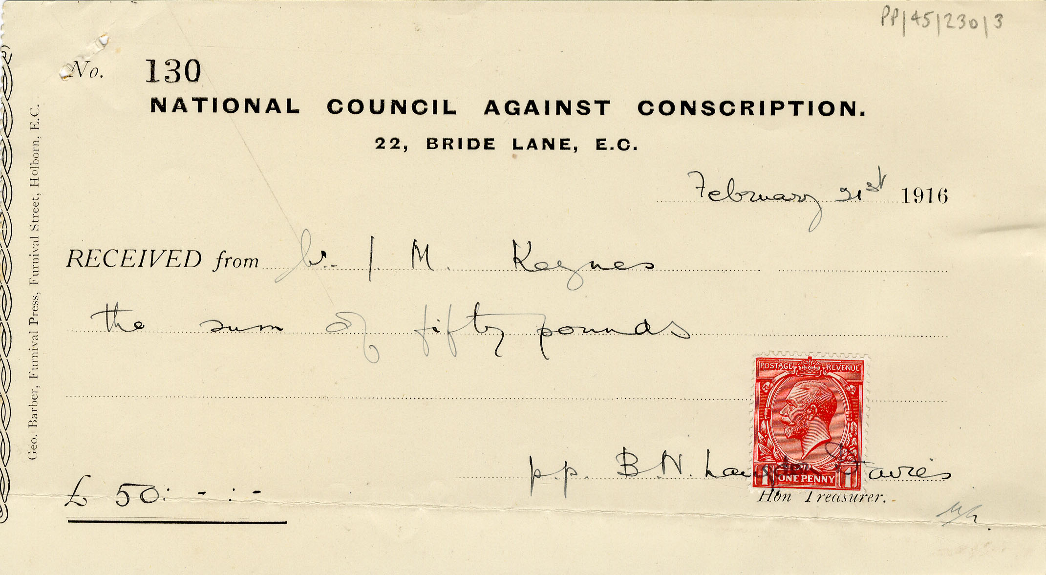 Receipt for Keynes' subscription to the National Council Against Conscription (JMK/PP/45/230/3)