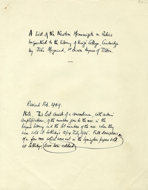 First page of Munby's list of Keynes' Newton bequest (JMK/PP/62)