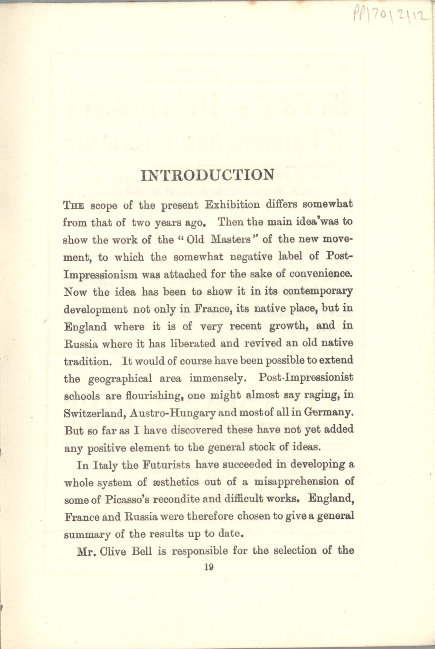 First page of the Introduction to the 'Second Post-Impressionist Exhibition' catalogue. [JMK/PP/70/2]