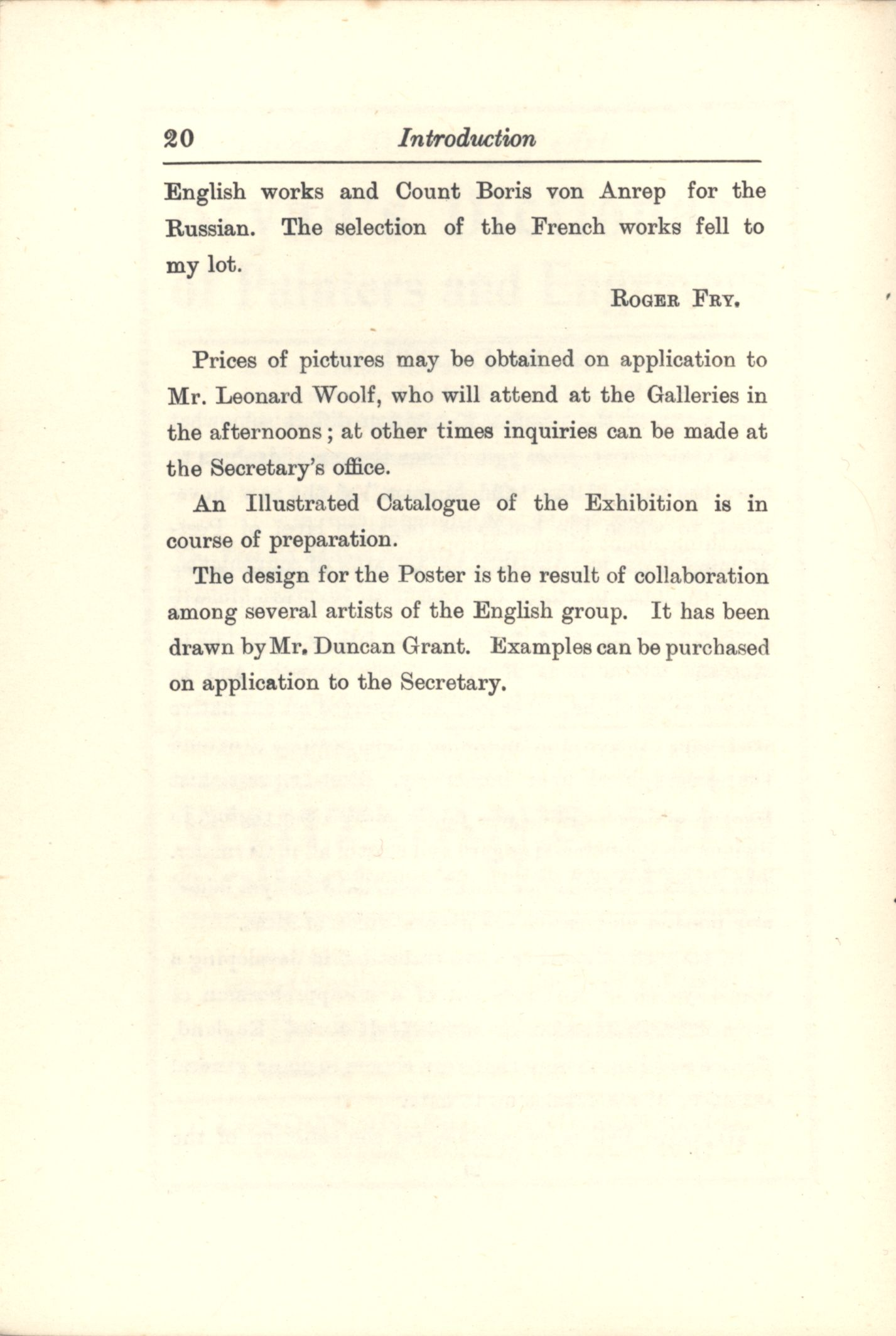 Second page of the Introduction to the 'Second Post-Impressionist Exhibition' catalogue. [JMK/PP/70/2]