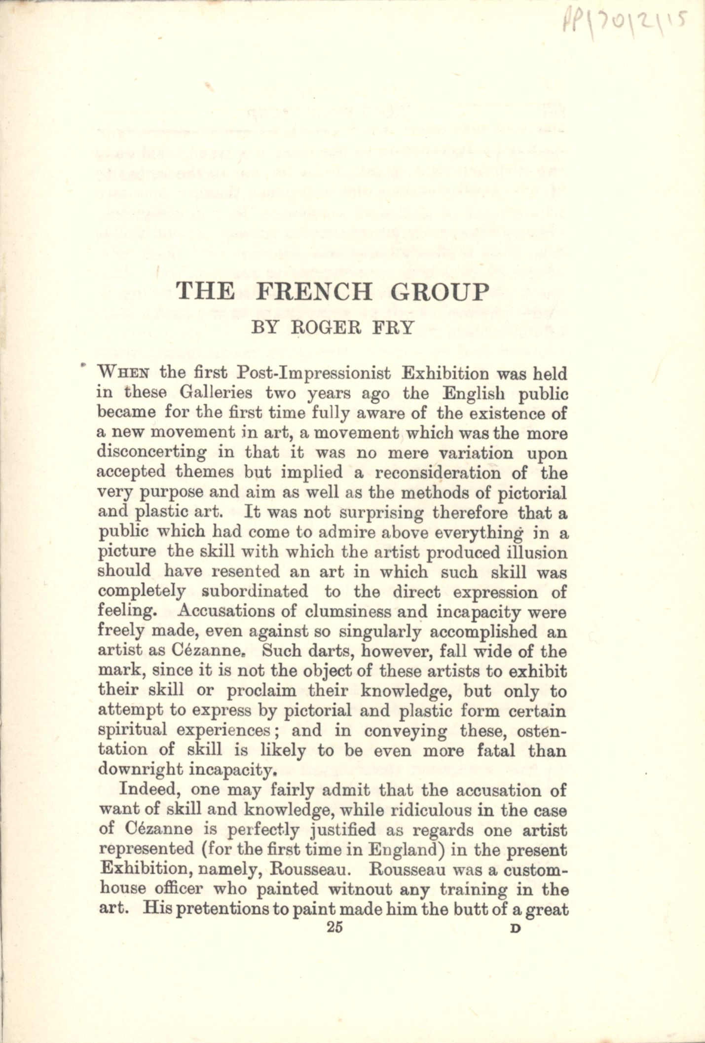 First page of the French Group in the 'Second Post-Impressionist Exhibition' catalogue. [JMK/PP/70/2]