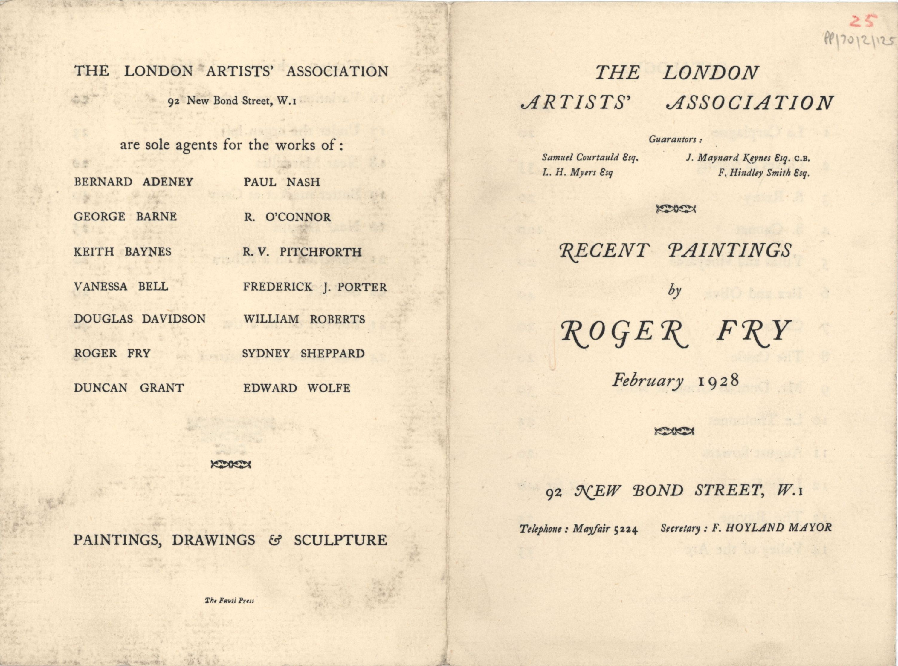 'ROGER FRY, recent paintings', London Artists' Association exhibition catalogue, February 1928. [JMK/PP/70/2]