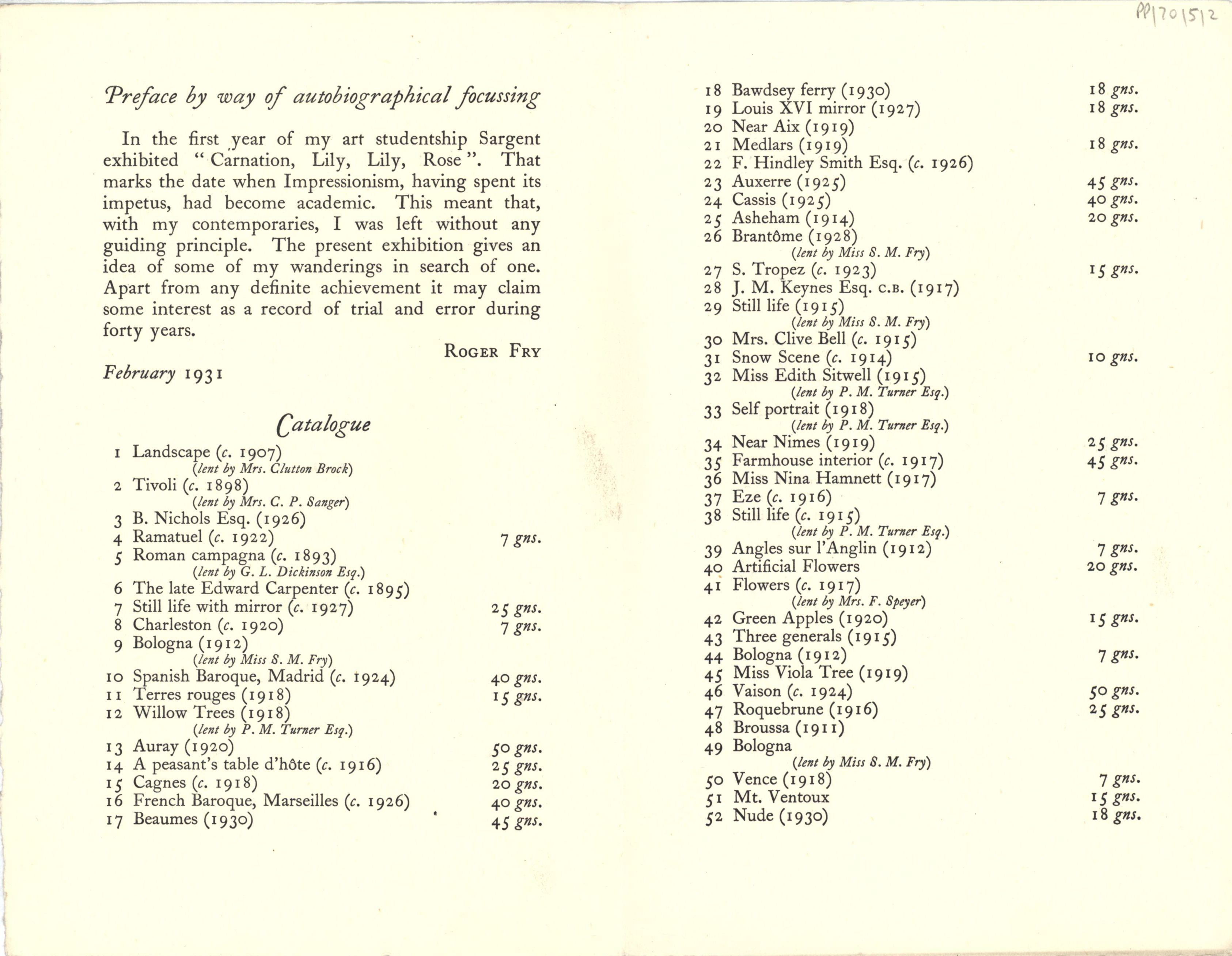 'Roger Fry (retrospective exhibition of paintings)' catalogue, 1931. [JMK/PP/70/5]