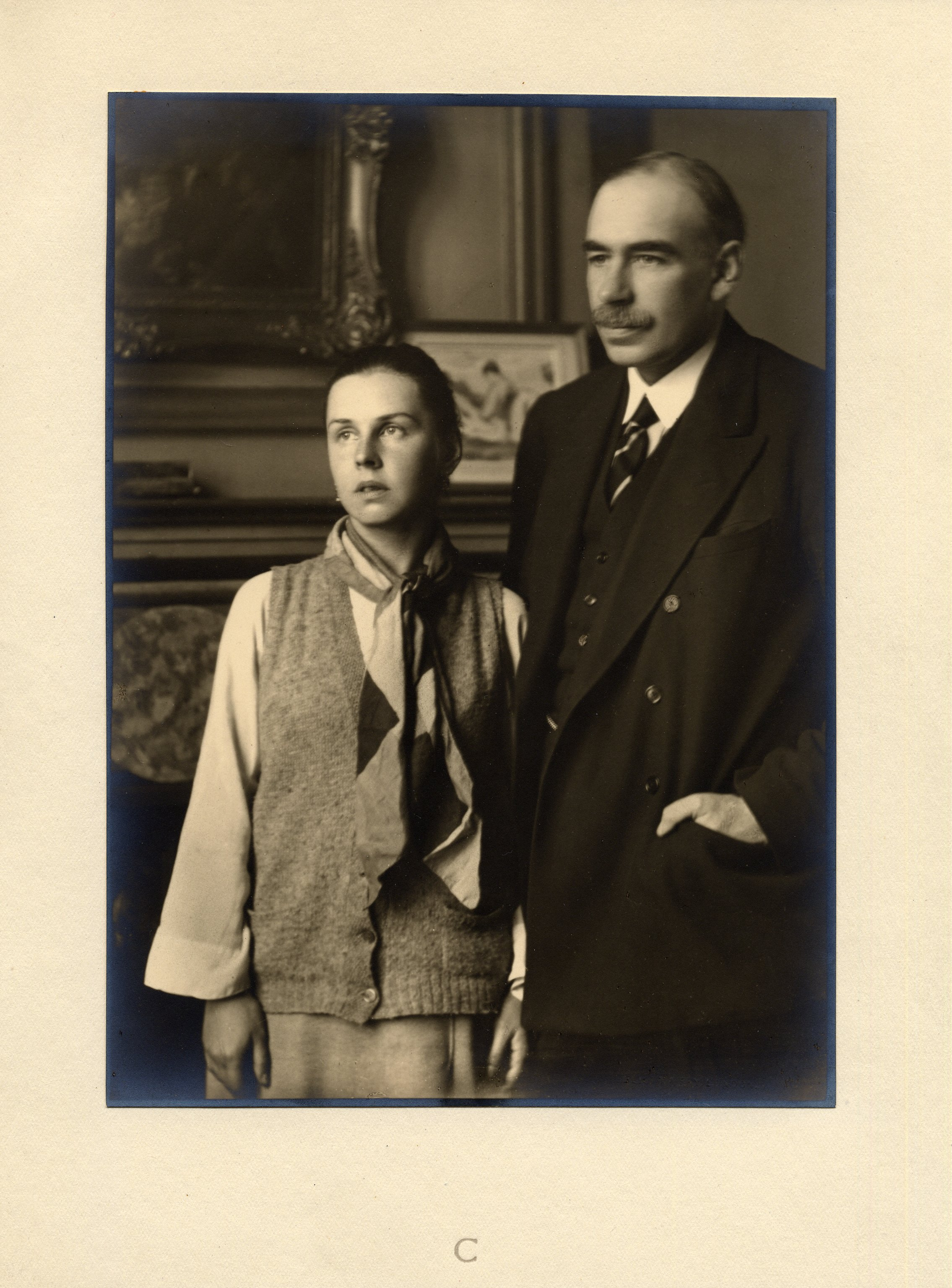Portrait of J.M. Keynes with Lydia Keynes, in his rooms at King's College, taken by Walter Benington for Elliott and Fry Ltd. [JMK/PP/94/444A/3]