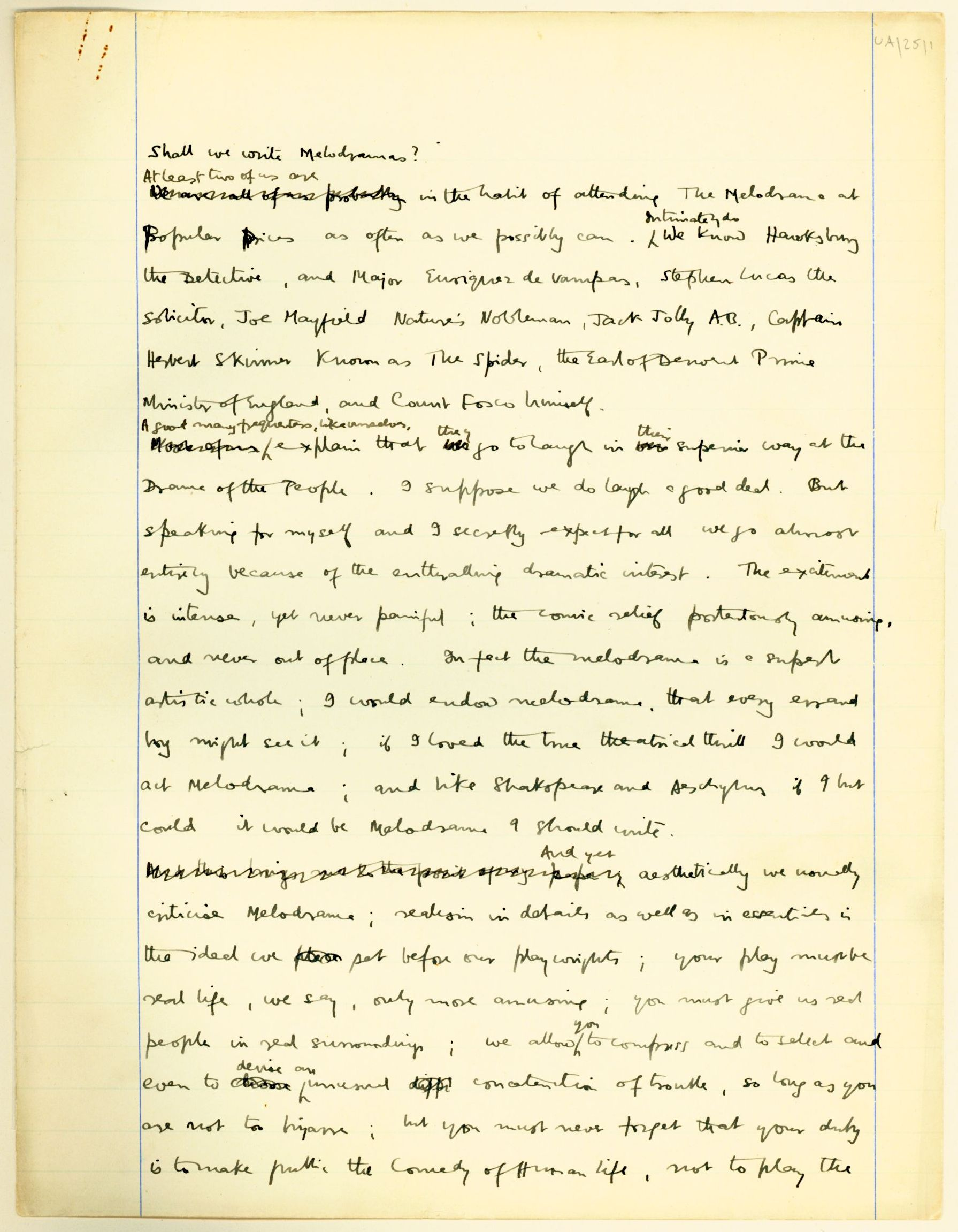 First page of a paper entitled 'Shall we write melodramas?', which Keynes read to the Apostles, c.1906. [JMK/UA/25]