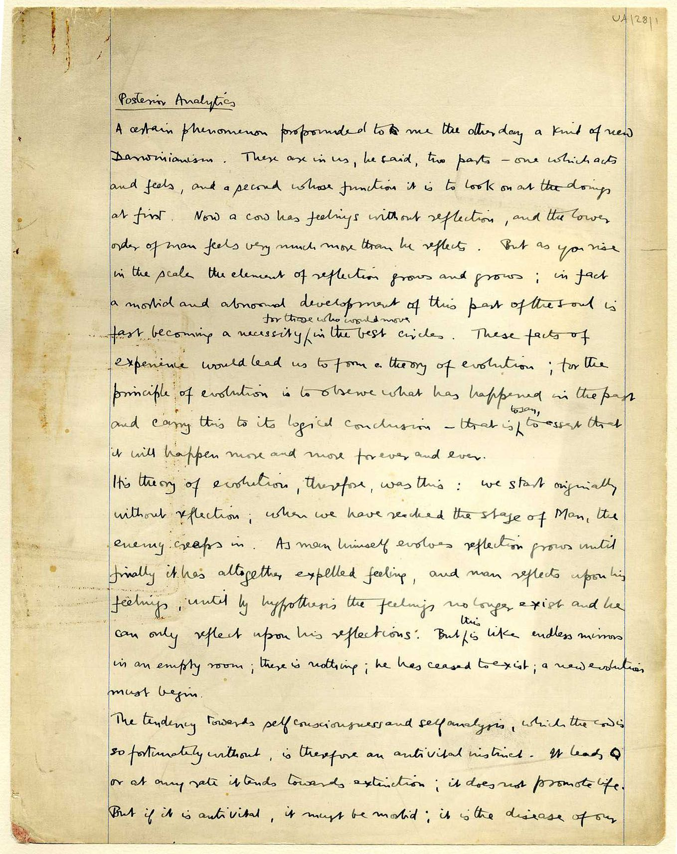 First page of a paper entitled 'Posterior analytics', which Keynes read to the Apostles, 1905-6. [JMK/UA/28]