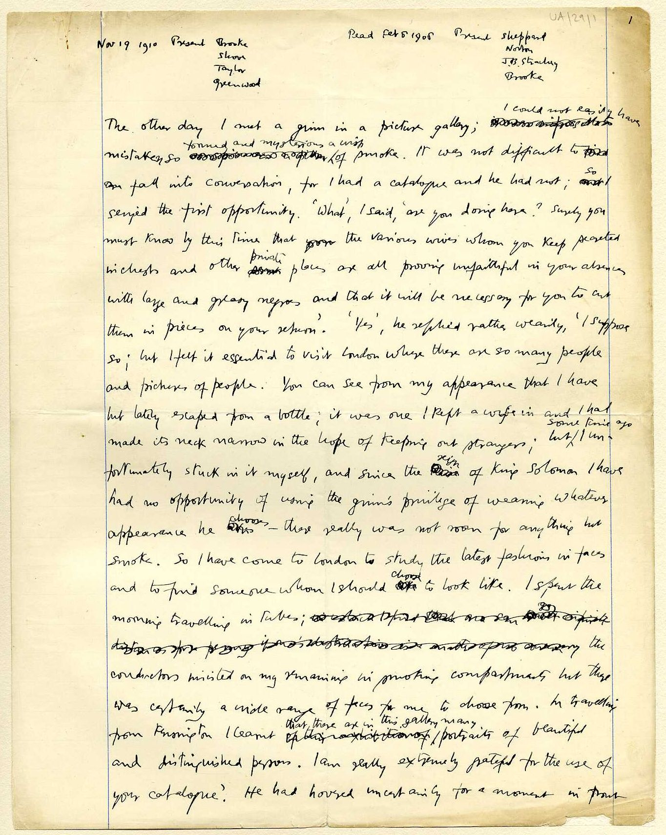 First page of a paper entitled 'A ginn in the picture gallery', which Keynes read to the Apostles, c.1908-10. [JMK/UA/29]