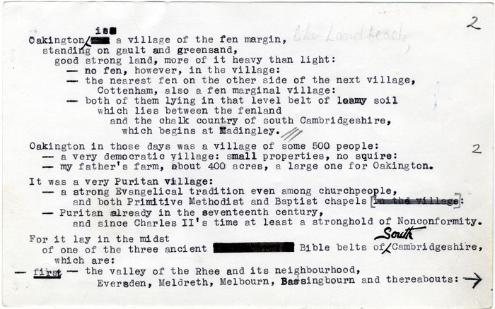 Notes on Oakington, for a public lecture given by Saltmarsh, 1973 (JS/1/22/9)