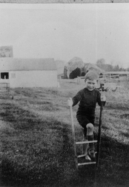 JS as a boy at his father's farm, Meadow Farm, in Oakington.  He has one foot on the rung of the handles of a plough. 1916. (JS/X/3/1)