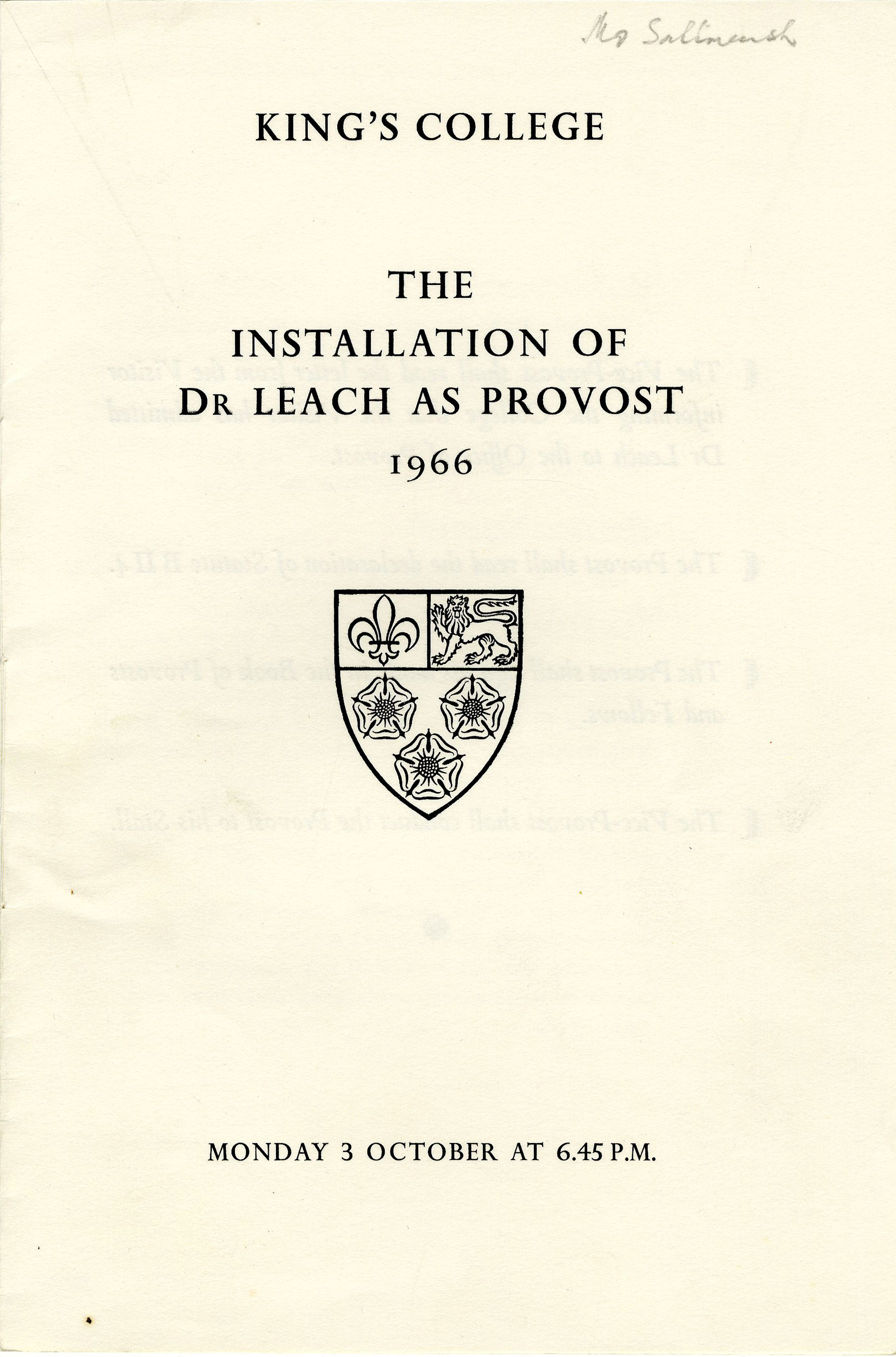 First page of the order of proceedings for the installation of Edmund Leach as Provost.  3 Oct. 1966. (JS/5/2)