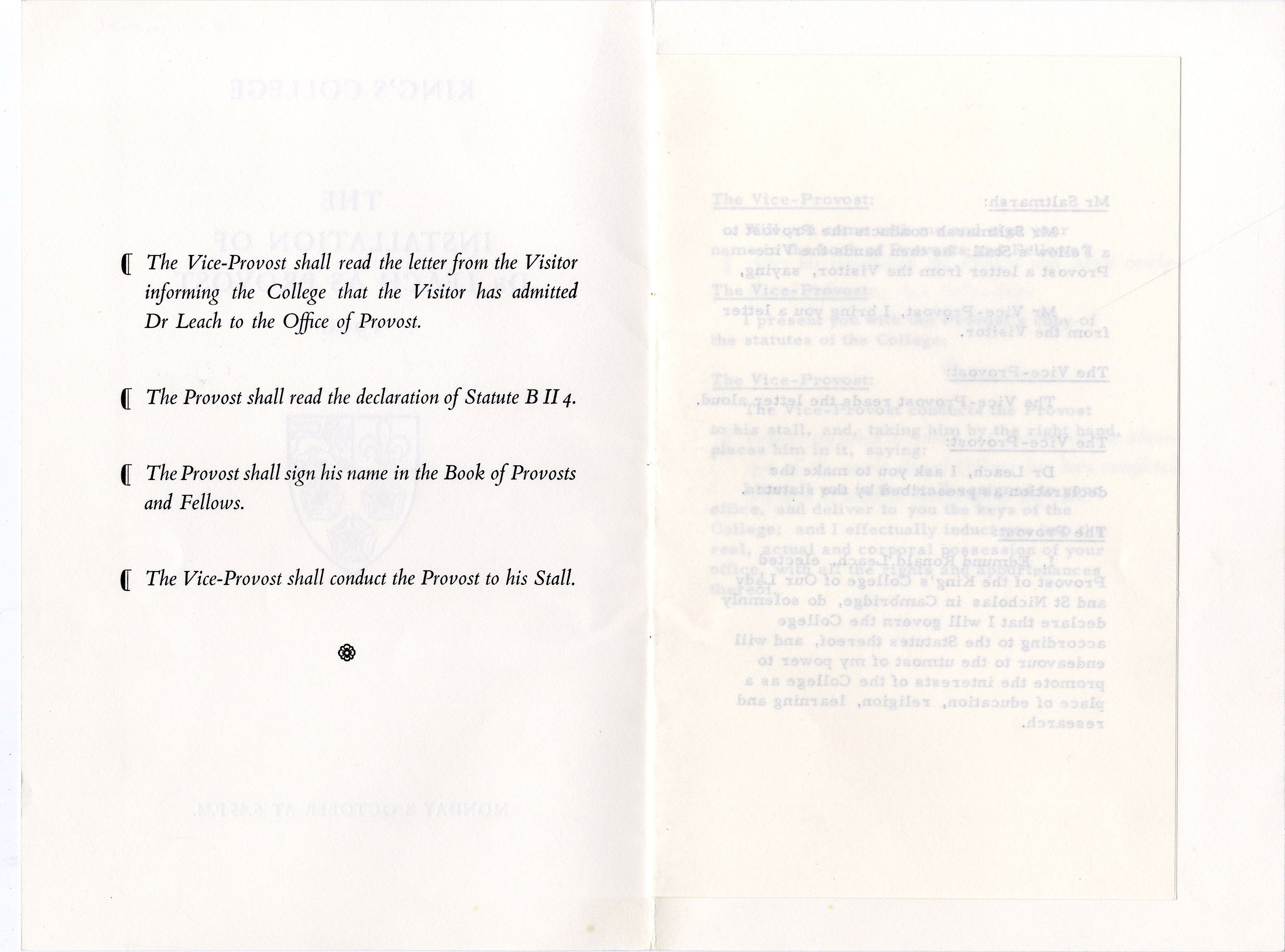 Second page of the order of proceedings for the installation of Edmund Leach as Provost.  3 Oct. 1966. (JS/5/2)