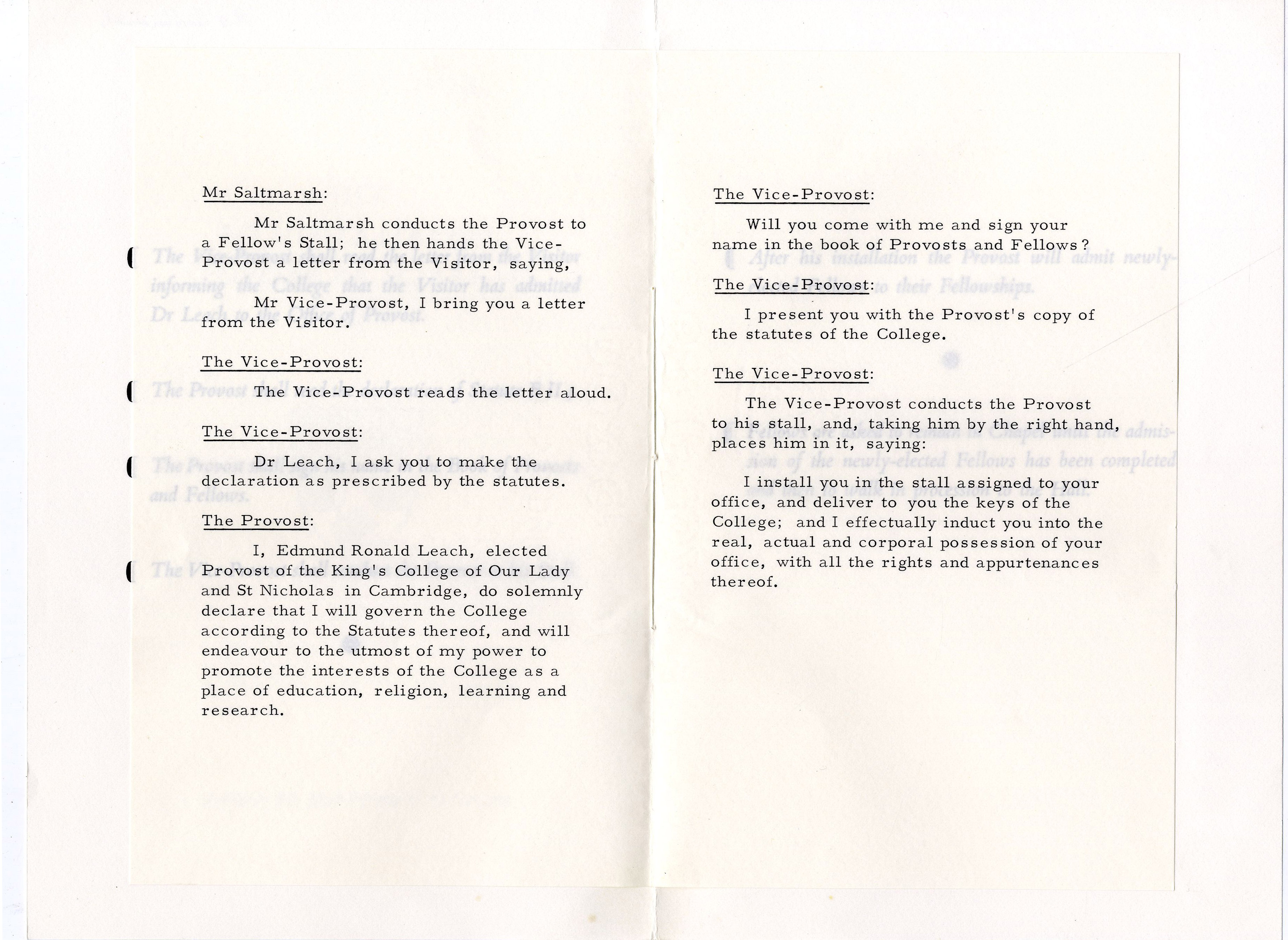 Third page of the order of proceedings for the installation of Edmund Leach as Provost.  3 Oct. 1966. (JS/5/2)
