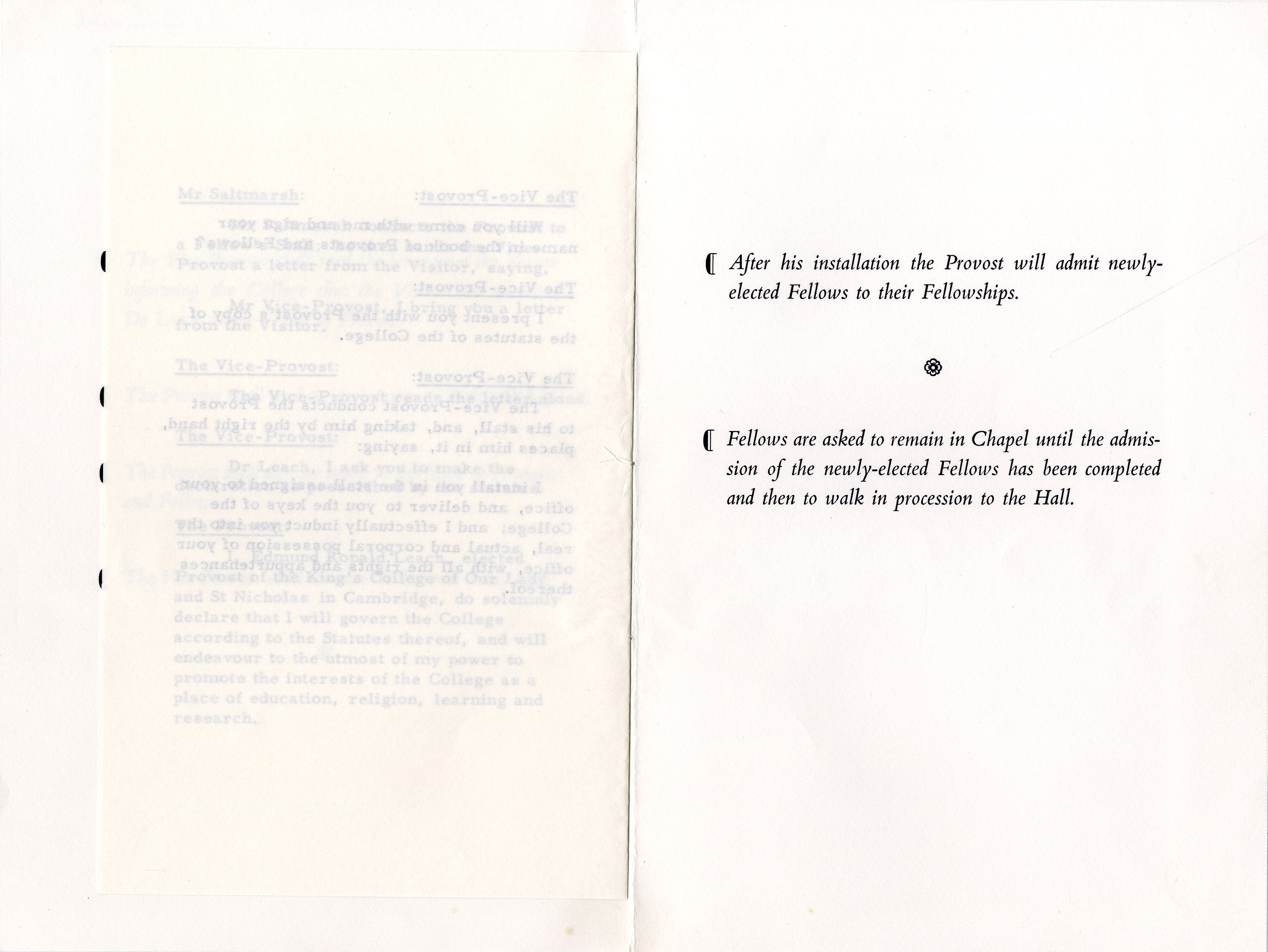 Fourth page of the order of proceedings for the installation of Edmund Leach as Provost.  3 Oct. 1966. (JS/5/2)