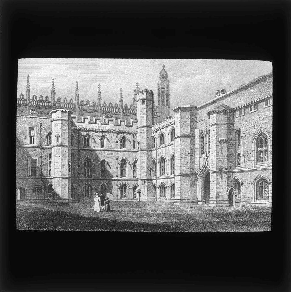 Lantern slide which belonged to John Saltmarsh, showing the Old Court. [JS/4/13/3]