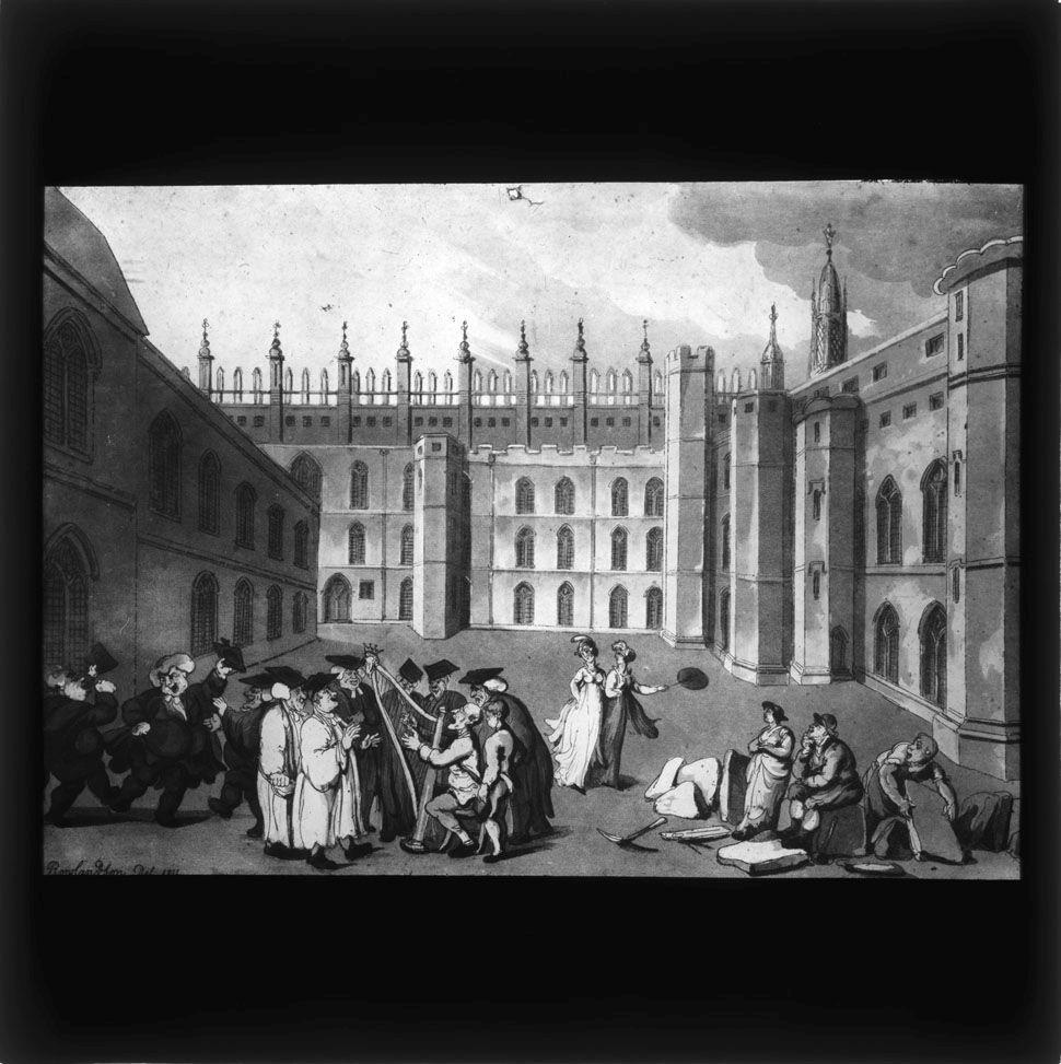 Lantern slide which belonged to John Saltmarsh, showing the Old Court. [JS/4/13/5]