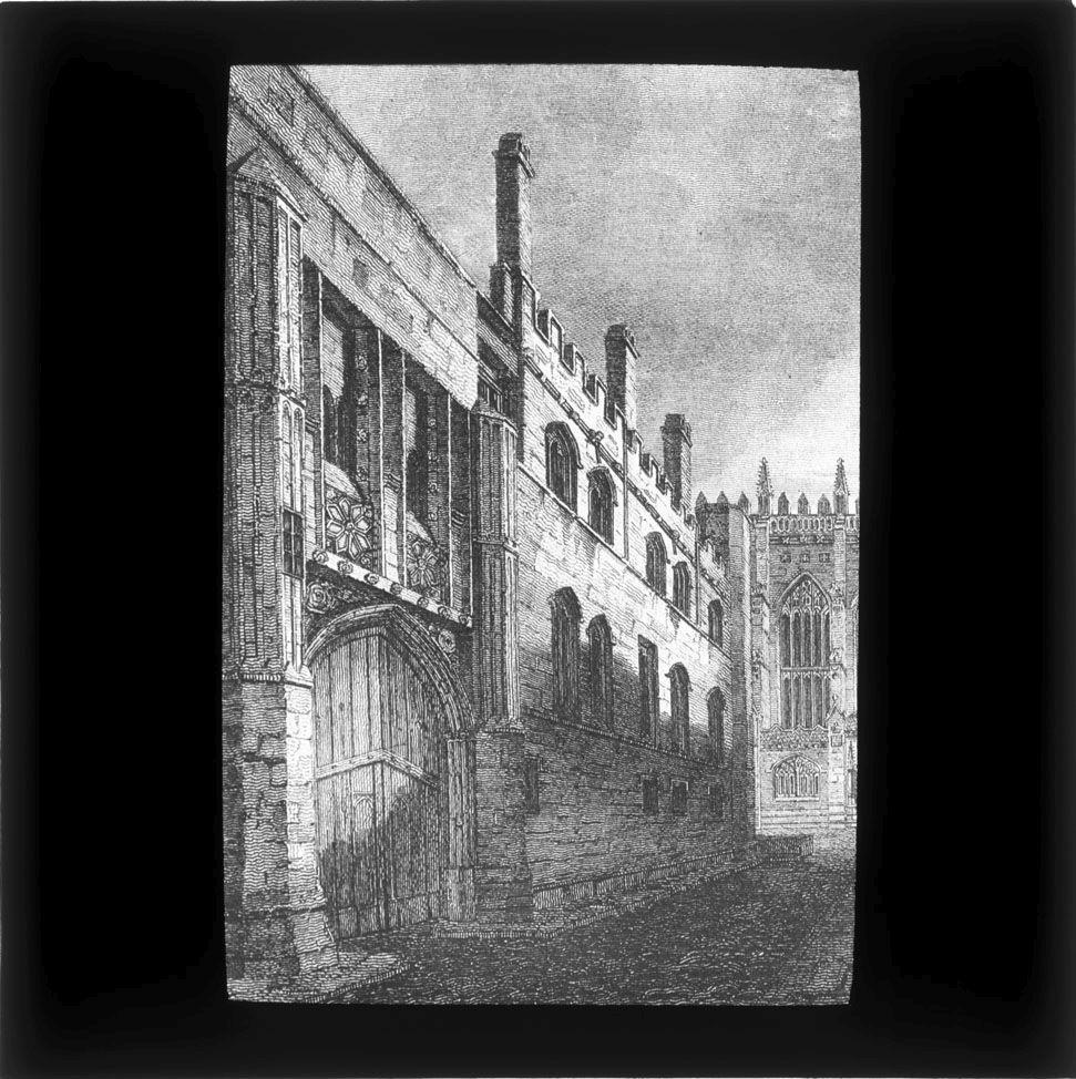 Lantern slide which belonged to John Saltmarsh, showing the gateway to the Old Court. [JS/4/13/27]