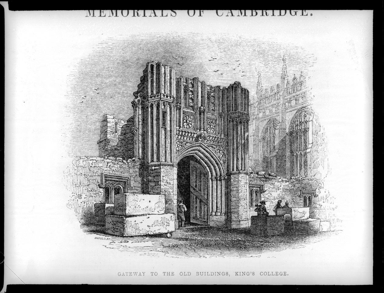John Saltmarsh's lantern slide of Le Keux's engraving 'Gateway to the Old Buildings, King's College'. [JS/4/15/01]