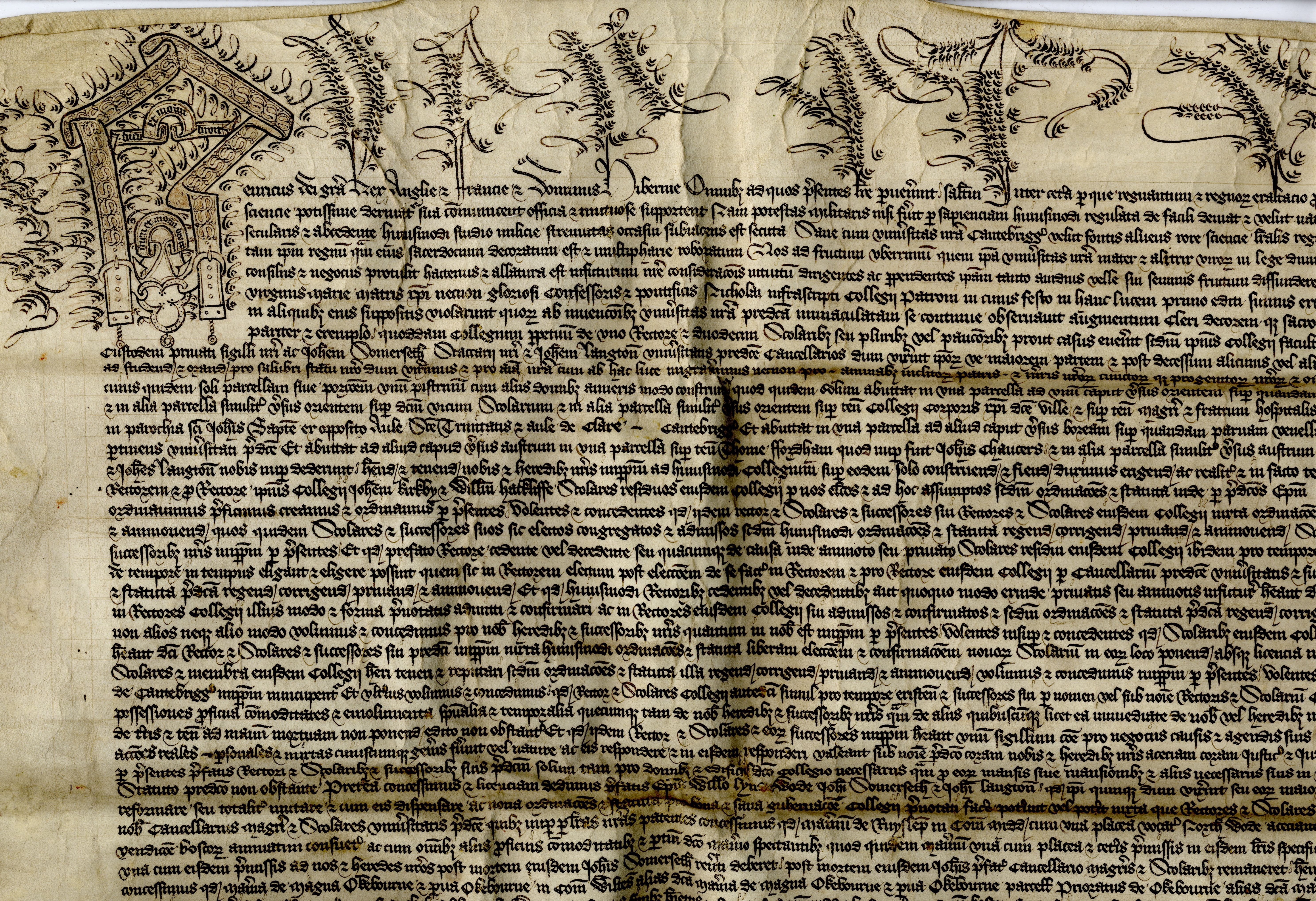 Part of the Royal Letters Patent founding King's College, 12 February 1441. [KC/11]