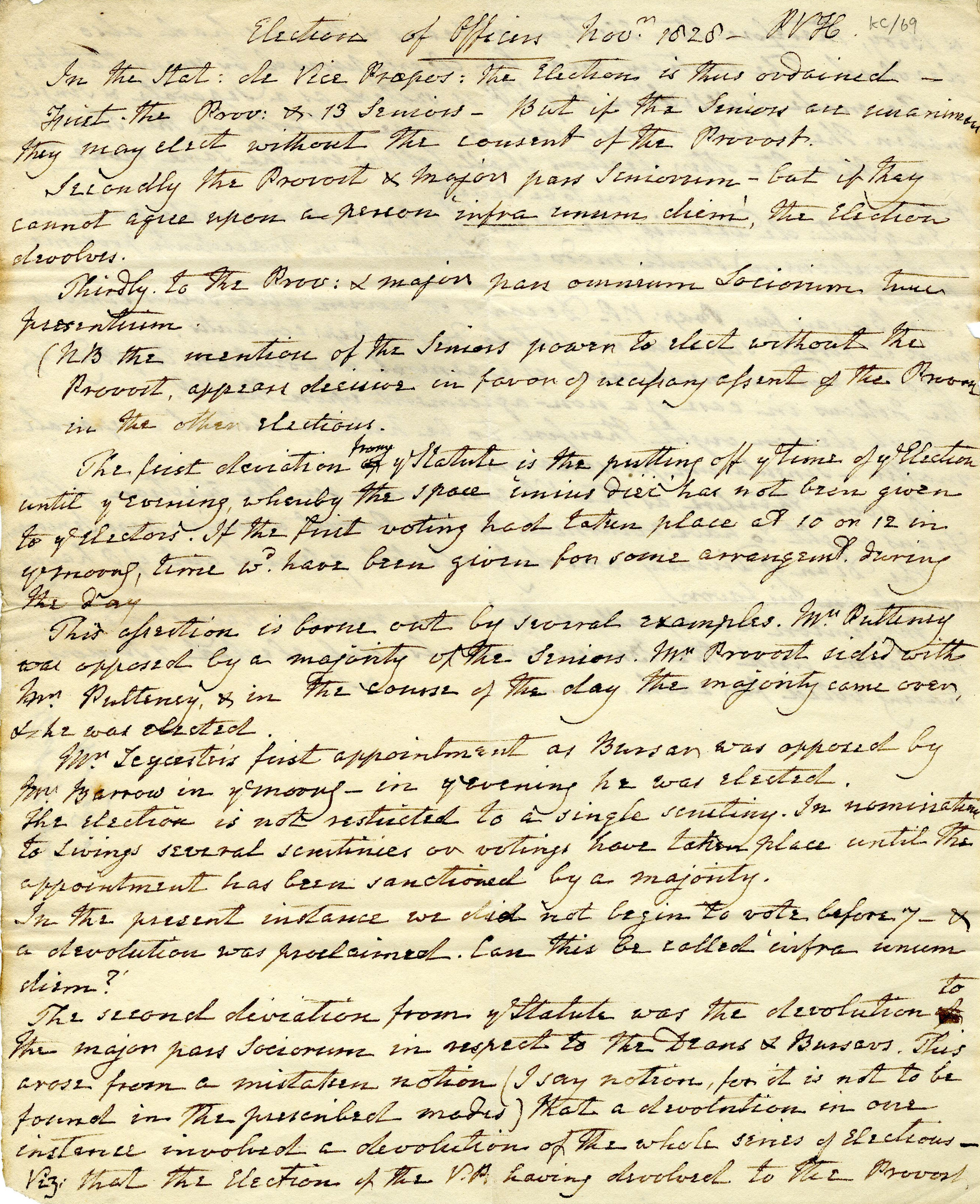 First page of  notes on the election of Officers in November 1828, setting out how the relevant statutes had been ignored (KC/69)