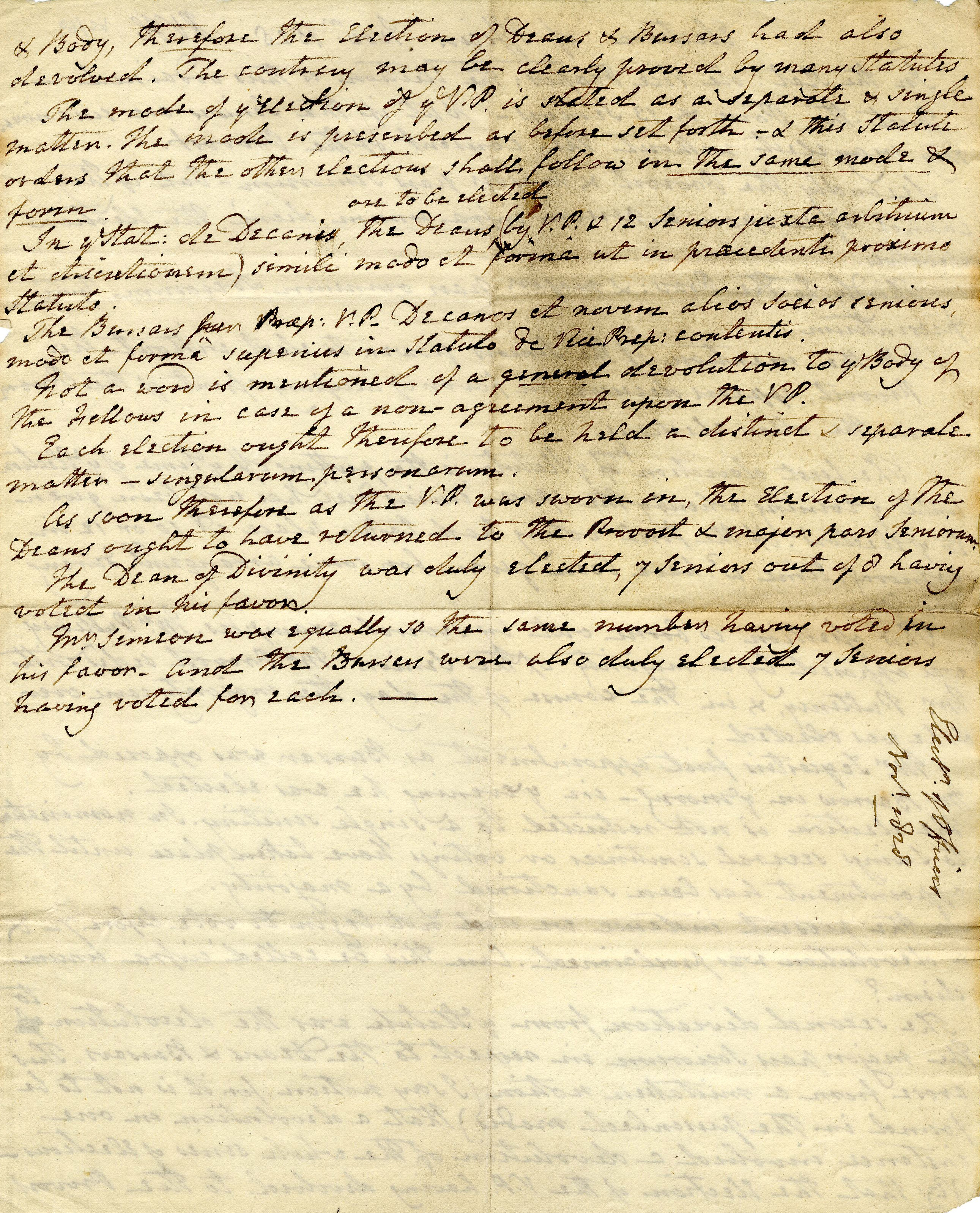 Second page of notes on the election of Officers in November 1828, setting out how the relevant statutes had been ignored (KC/69)